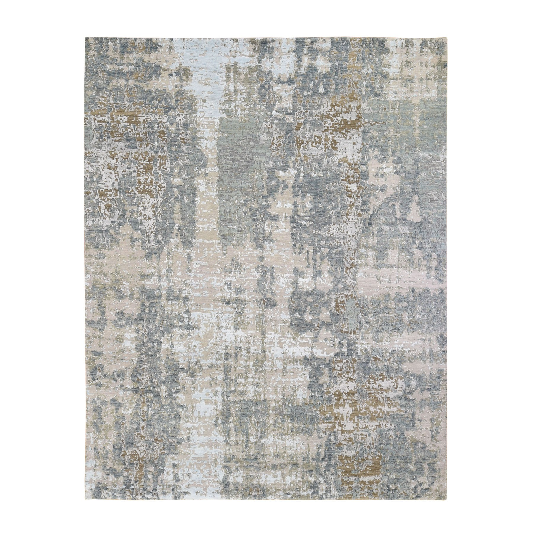 "8'X10'1"" Gray Abstract Design Wool And Silk Hi-Low Pile Denser Weave Hand Knotted Oriental Rug moae90d0"