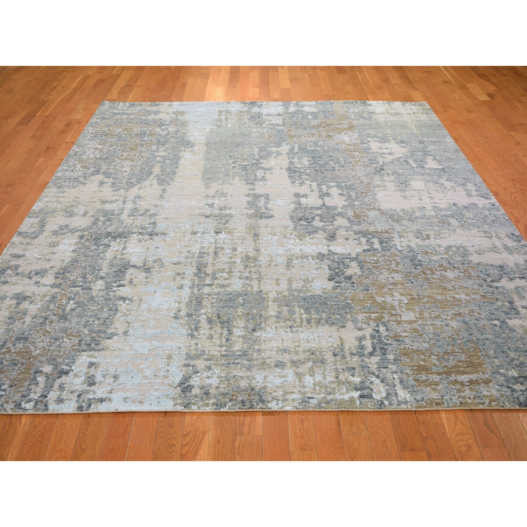 """8'x10'1"""" Gray Abstract Design Wool And Silk Hi-Low Pile Denser Weave Hand Knotted Oriental Rug"""