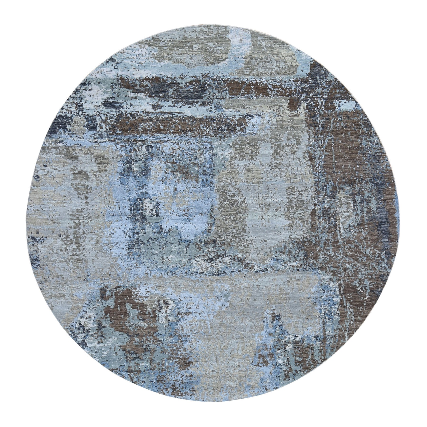 8'X8' Taupe Round Abstract Design Wool And Silk Hi-Low Pile Denser Weave Hand Knotted Oriental Rug moae90da
