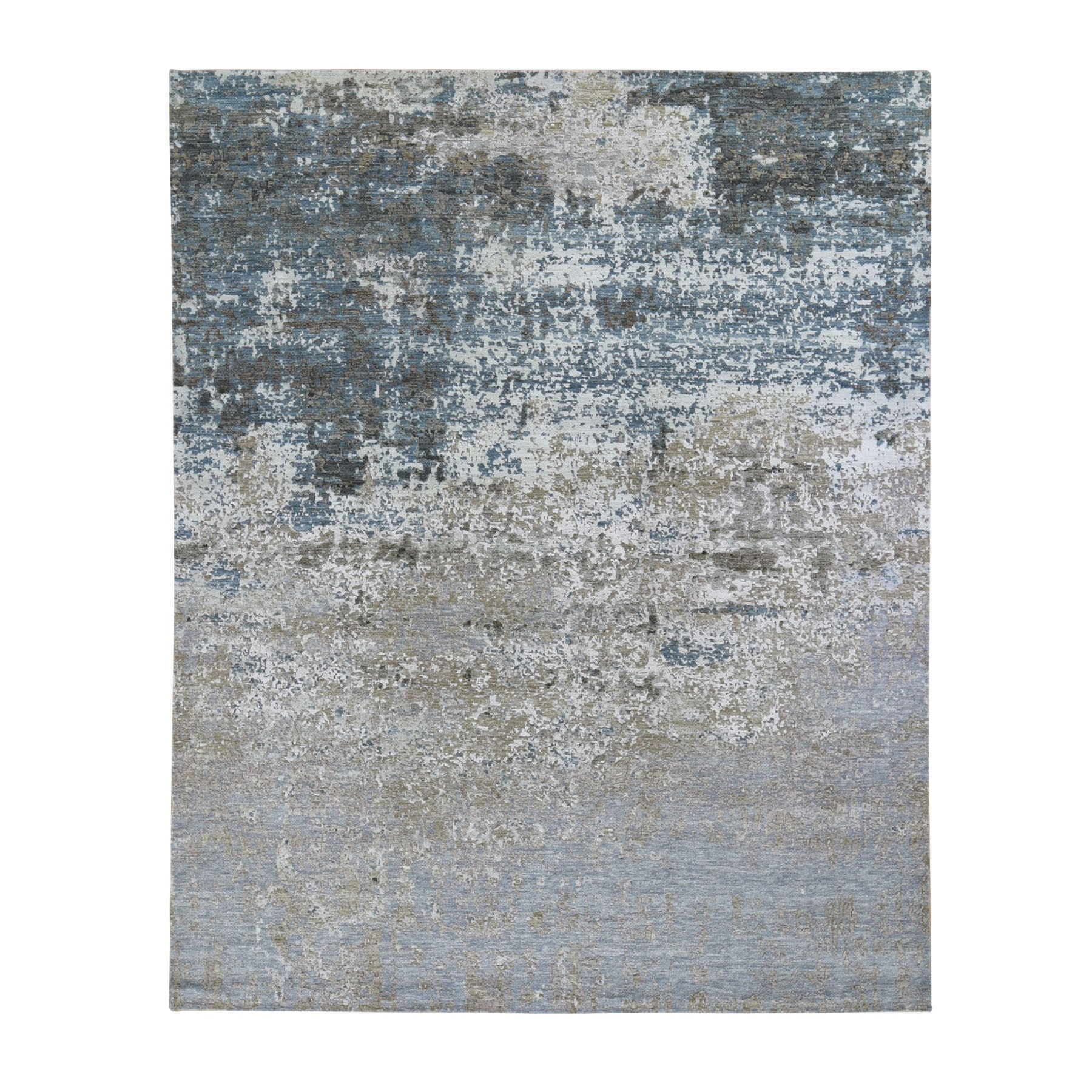 "8'x9'10"" Gray Abstract Design Wool And Silk Denser Weave Hand Knotted Oriental Rug"