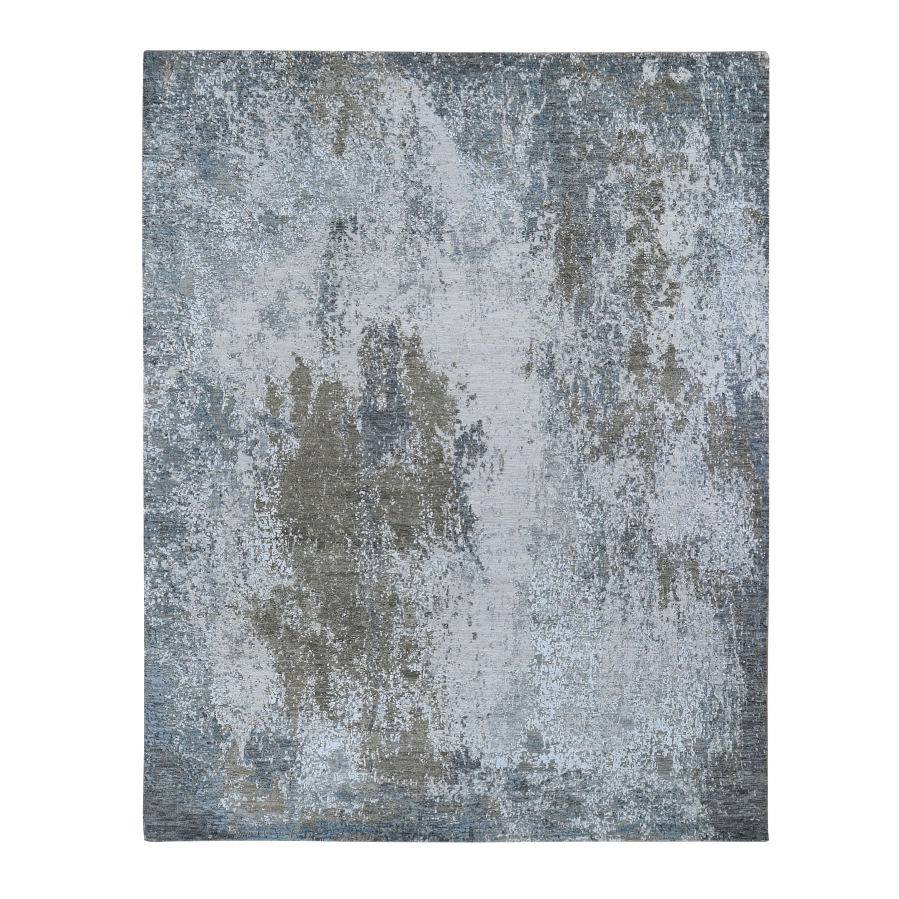 "7'10""X10'  Gray Abstract Design Wool And Silk Hi-Low Pile Denser Weave Hand Knotted Oriental Rug moae90dd"
