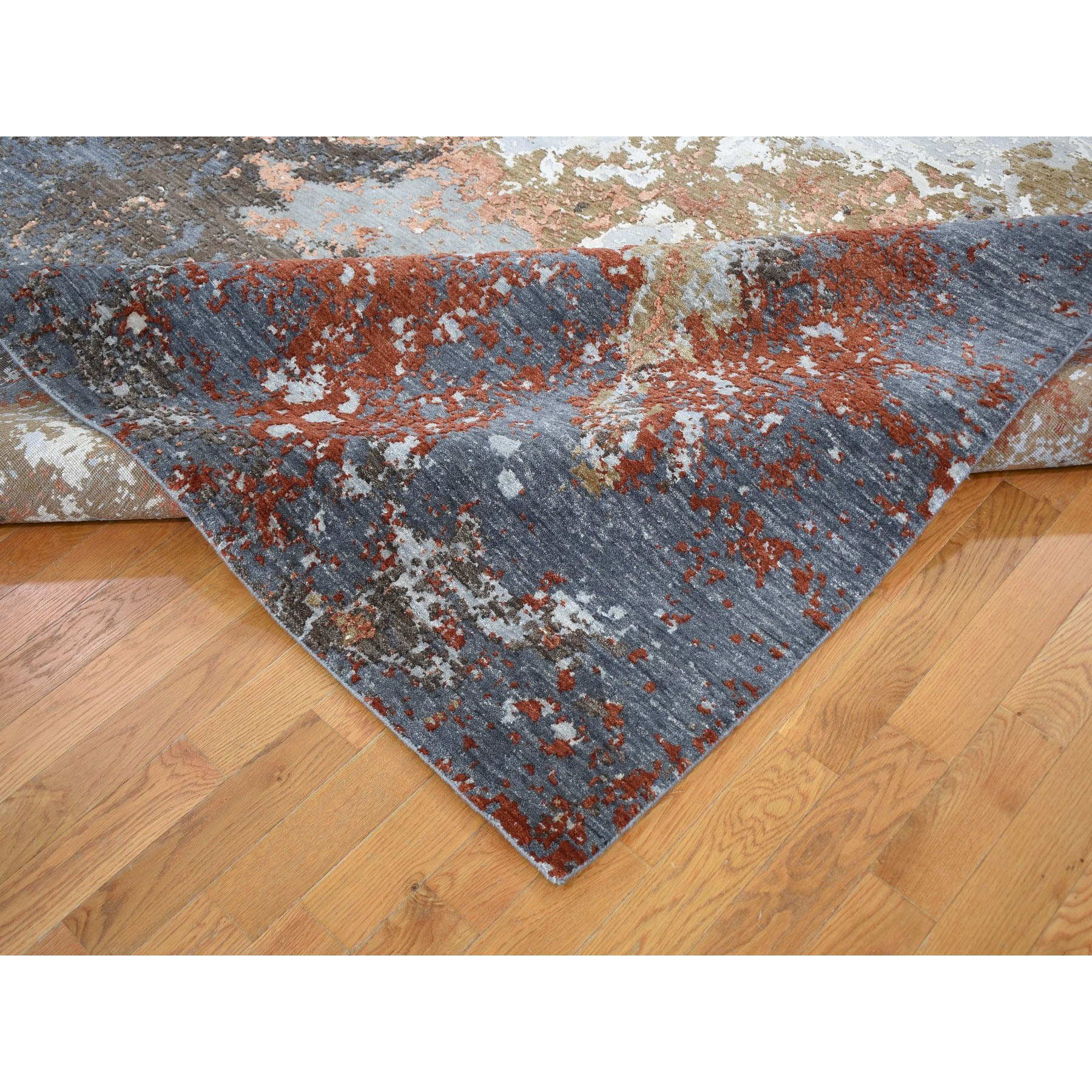 8'x10' Gray Abstract Design Wool And Silk Hi-Low Pile Denser Weave Hand Knotted Oriental Rug