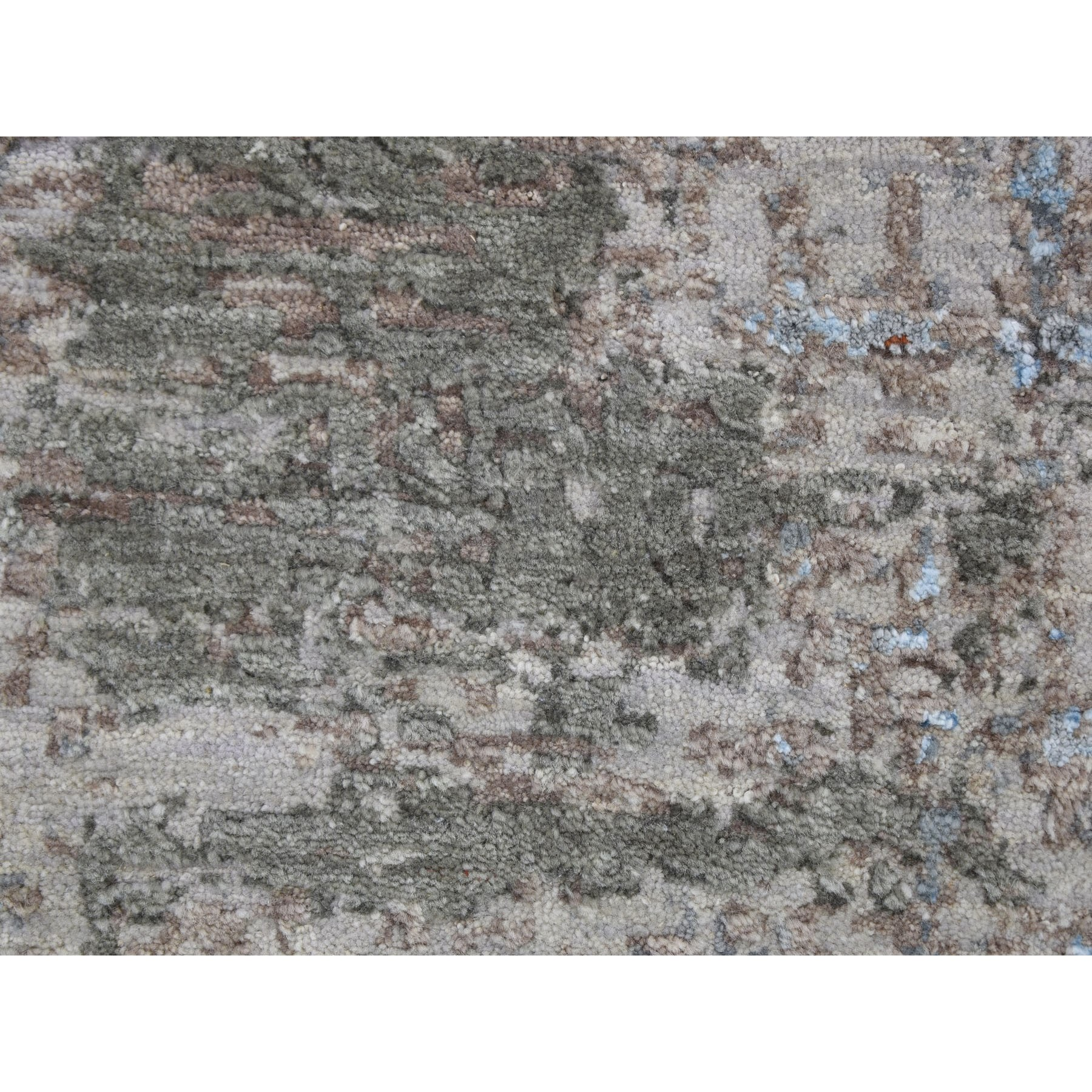 8'x10' Abstract Design Wool And Silk Denser Weave Hand Knotted Oriental Rug