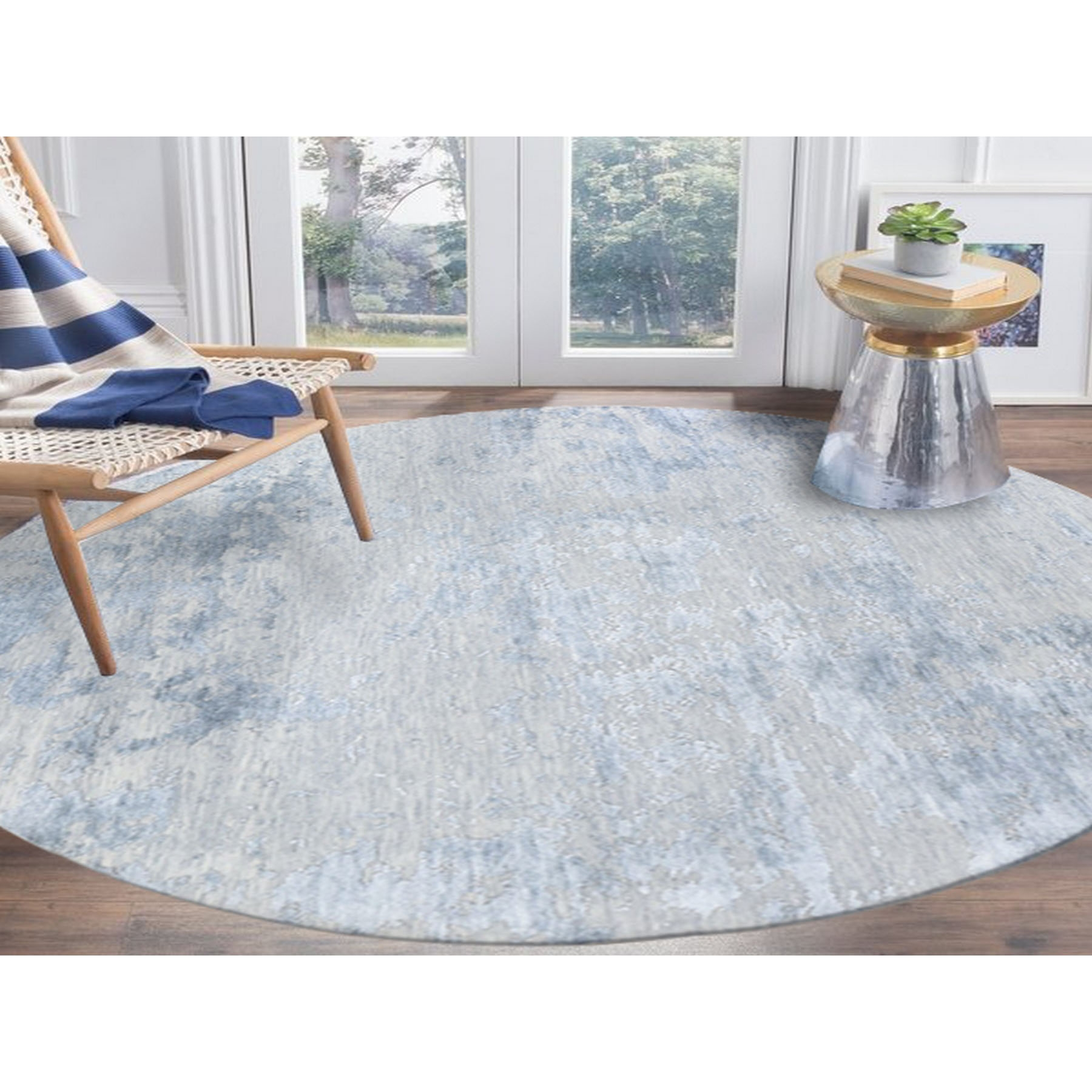 """7'10""""x7'10"""" Round Abstract Design Wool And Silk Hi-Low Pile Denser Weave Hand Knotted Oriental Rug"""