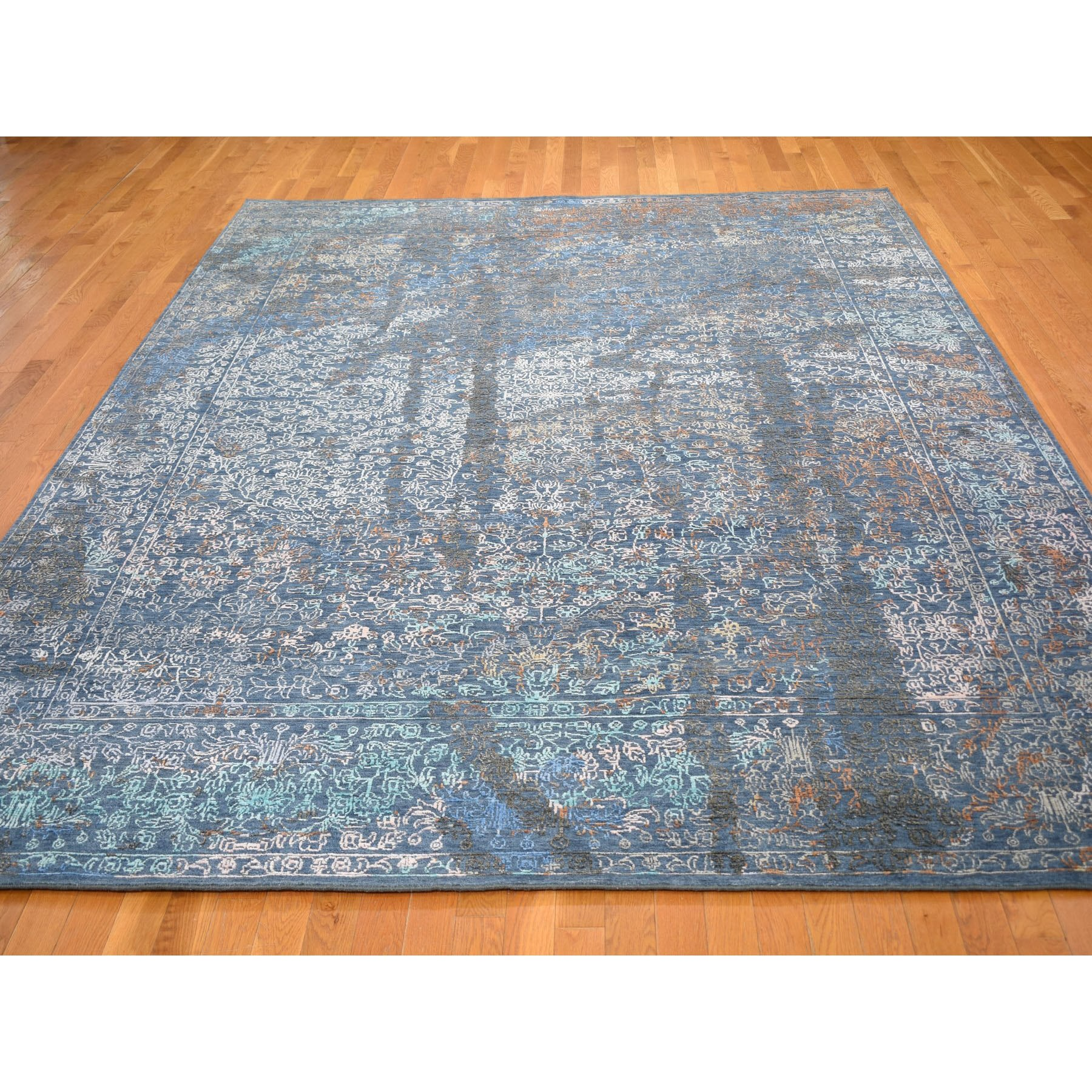 9'x12' Blue Abstarct Design Wool And Silk Hand Knotted Oriental Rug