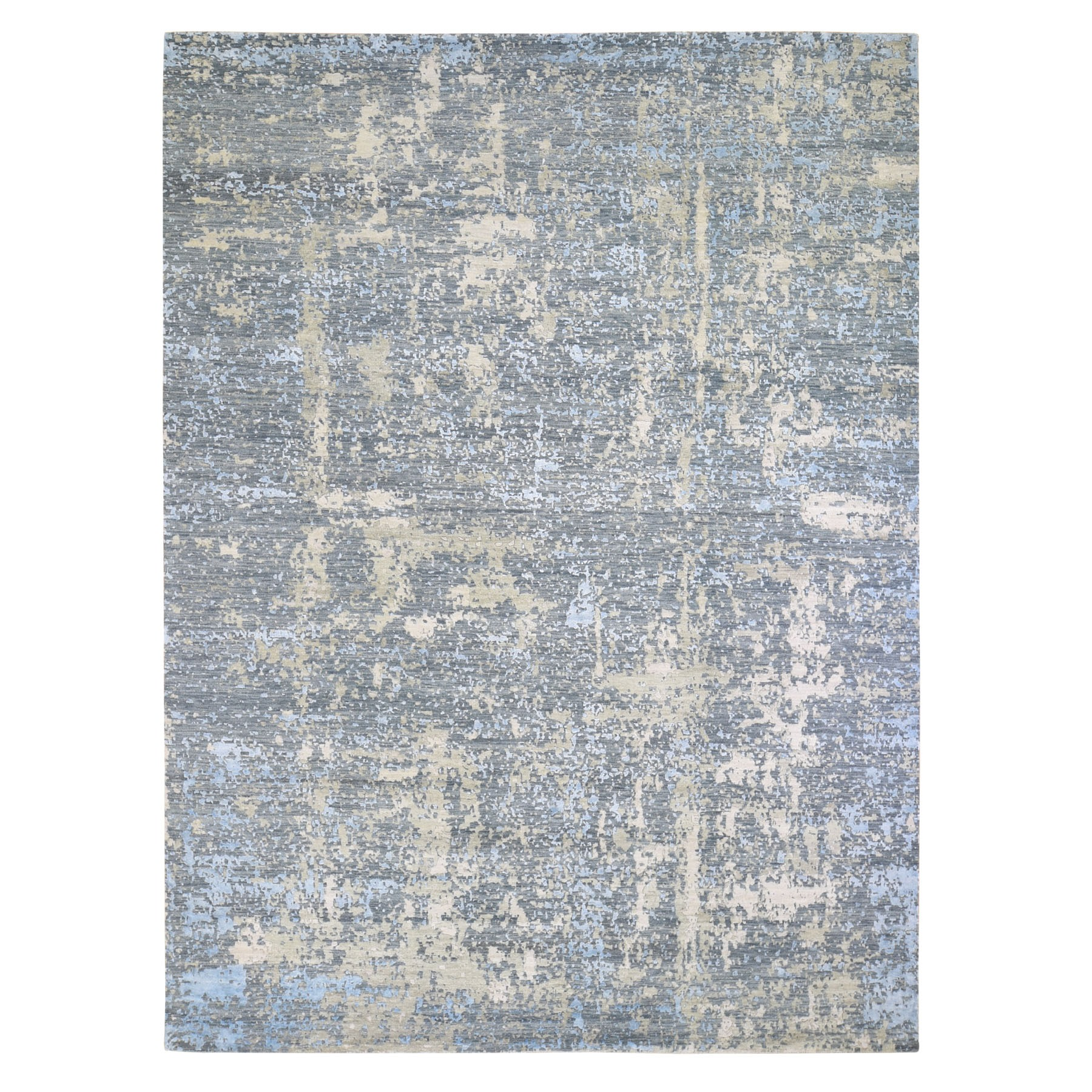"9'X12'4"" Gray Abstract Design Wool And Silk Hi-Low Pile Denser Weave Hand Knotted Oriental Rug moae90e9"