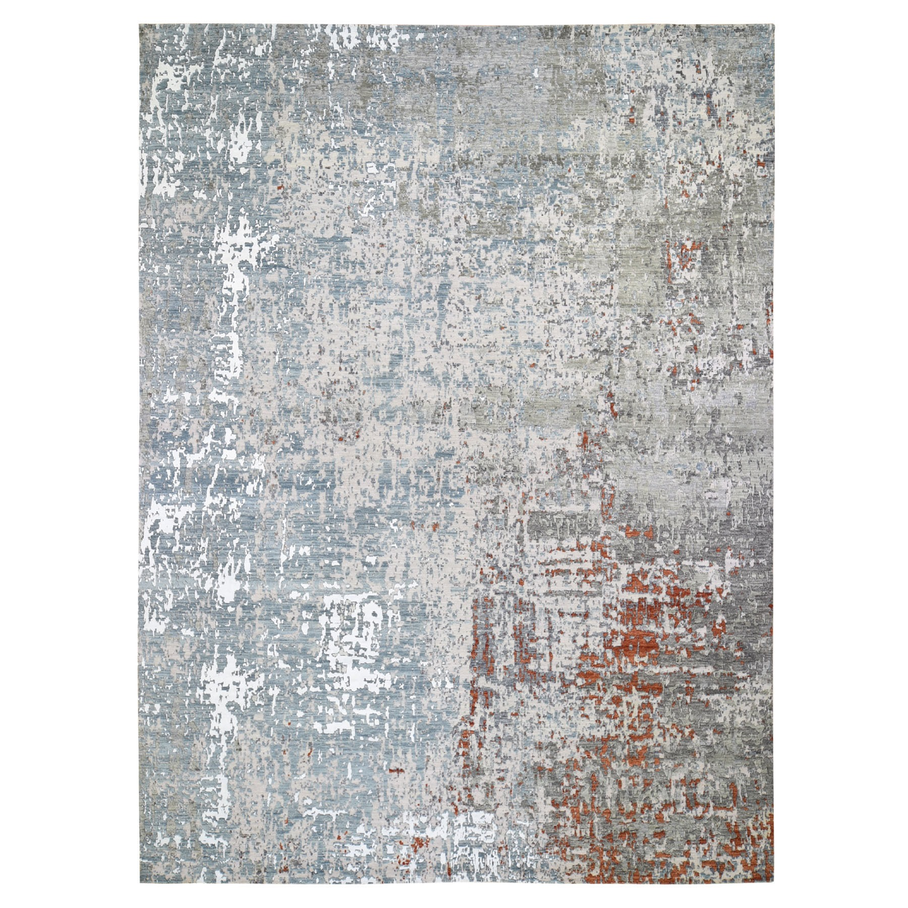 "10'X14'4"" Terracotta Abstract Design Wool And Silk Hi-Low Pile Denser Weave Hand Knotted Oriental Rug moae906c"
