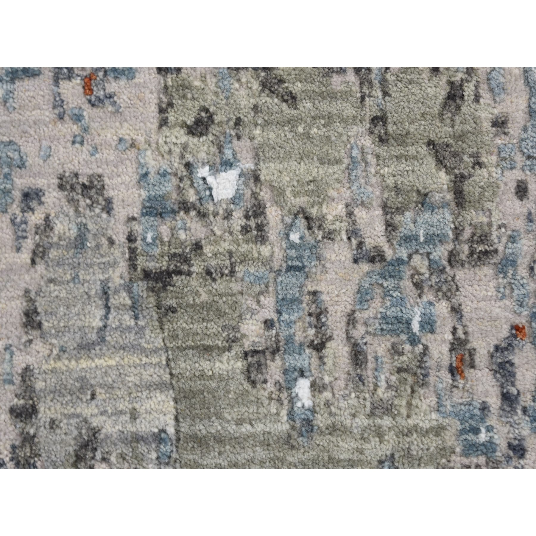 """10'x14'4"""" Terracotta Abstract Design Wool And Silk Hi-Low Pile Denser Weave Hand Knotted Oriental Rug"""