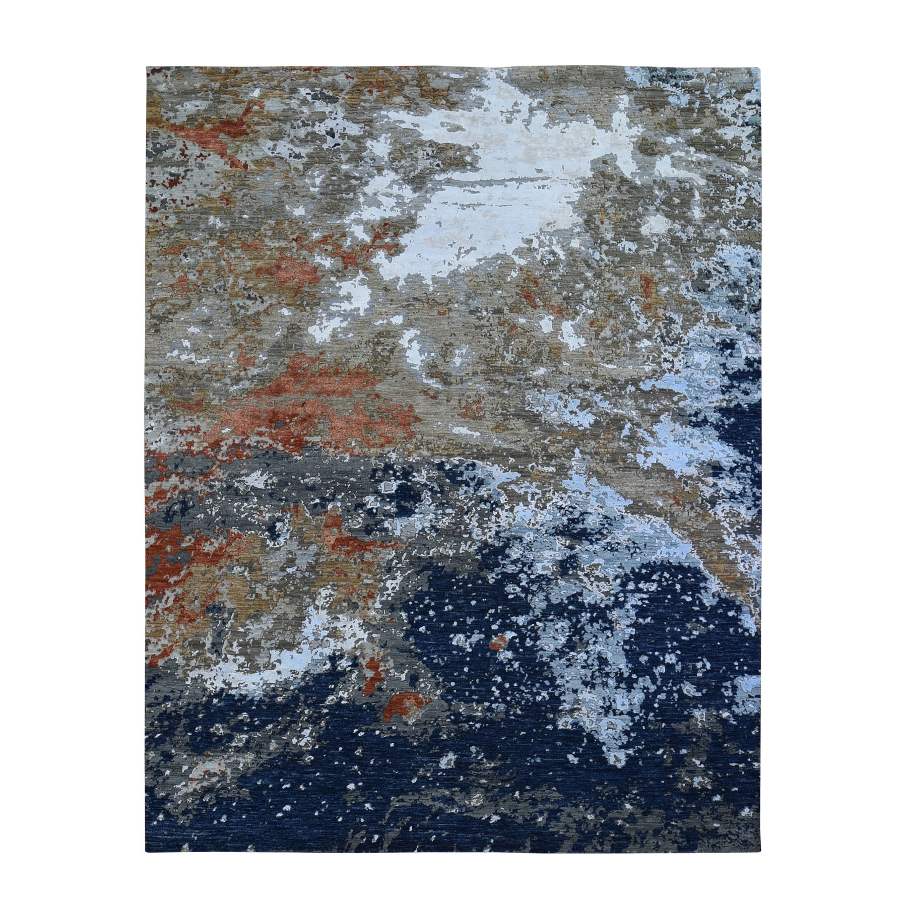 "8'1""X10'2"" Blue Abstract Design Wool And Silk Hi-Low Pile Denser Weave Hand Knotted Oriental Rug moae906d"