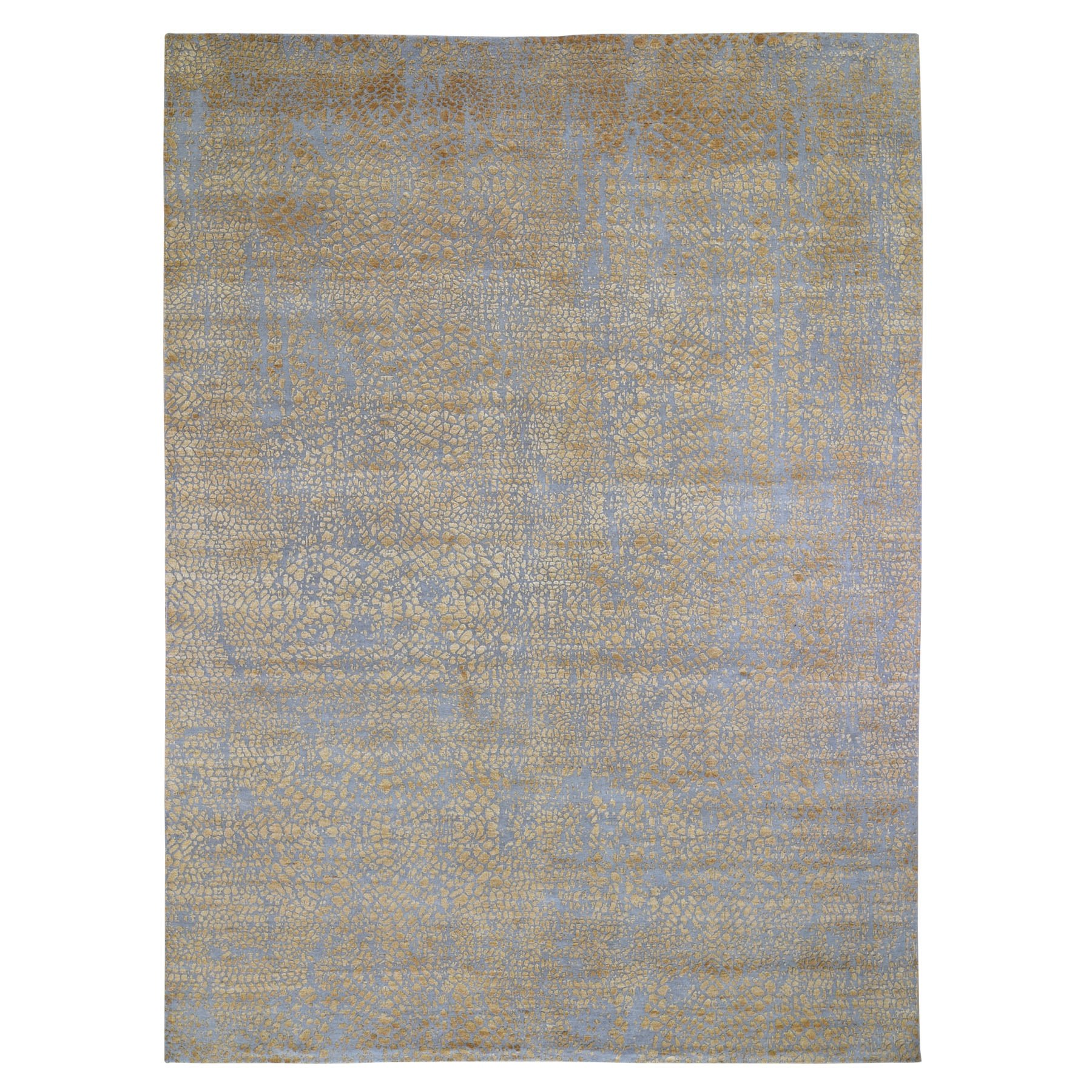 "8'10""X12'1"" Gold Tone On Tone The Dots Wool And Silk Hand Knotted Oriental Rug moae906e"