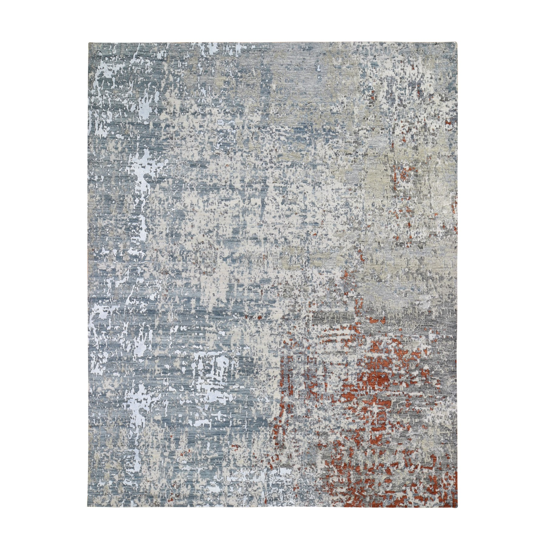 "8'X10'1"" Terracotta Abstract Design Wool And Silk Hi-Low Pile Denser Weave Hand Knotted Oriental Rug moae9068"