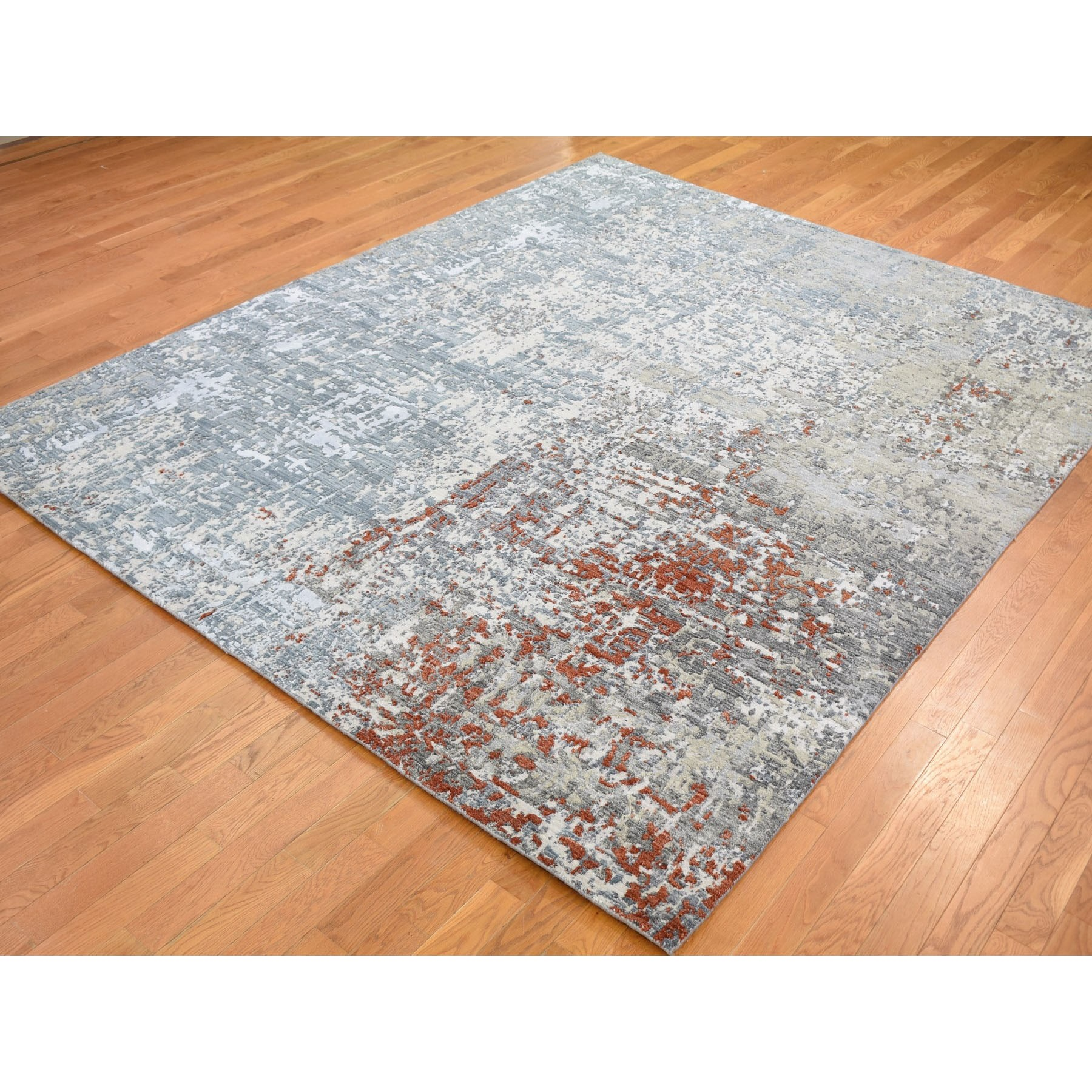 "8'x10'1"" Terracotta Abstract Design Wool And Silk Hi-Low Pile Denser Weave Hand Knotted Oriental Rug"