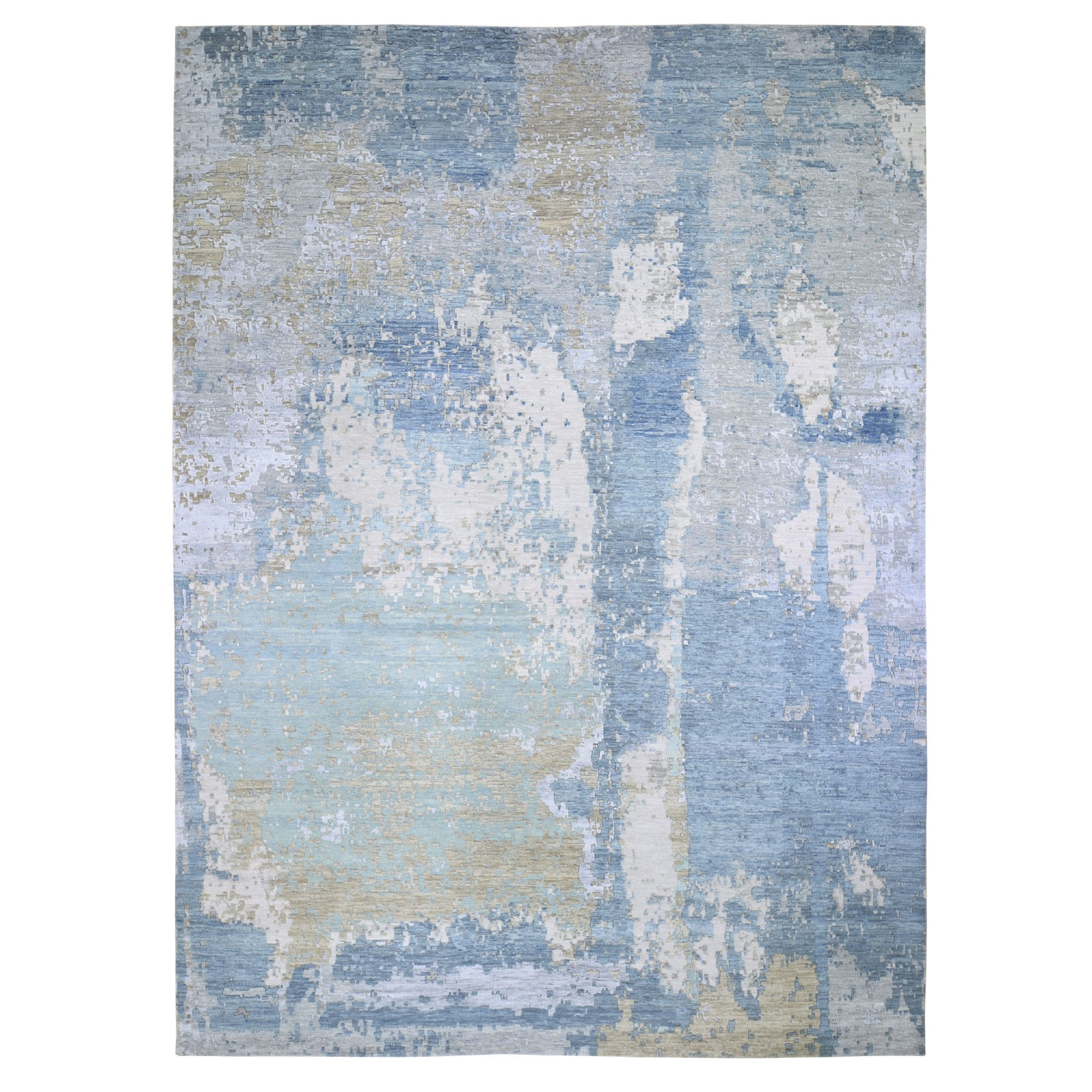 "10'x14'2"" Blue Abstract Design Wool And Silk Denser Weave Hand Knotted Modern Rug"