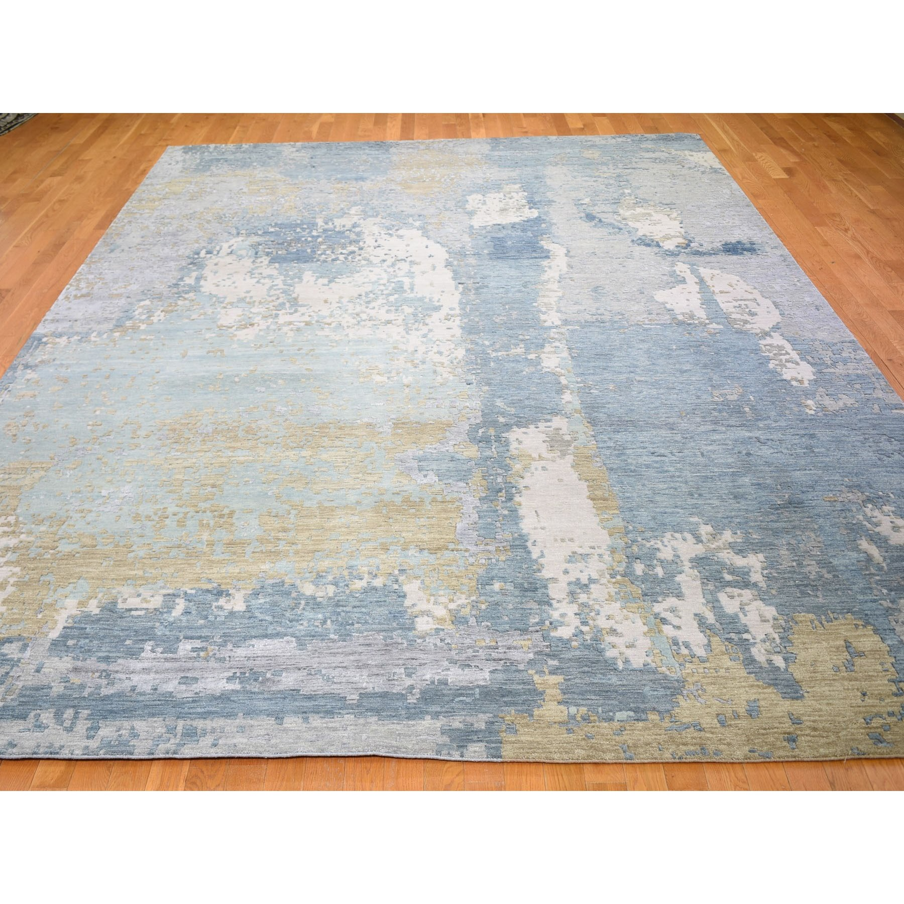 """10'x14'2"""" Blue Abstract Design Wool And Silk Denser Weave Hand Knotted Modern Rug"""