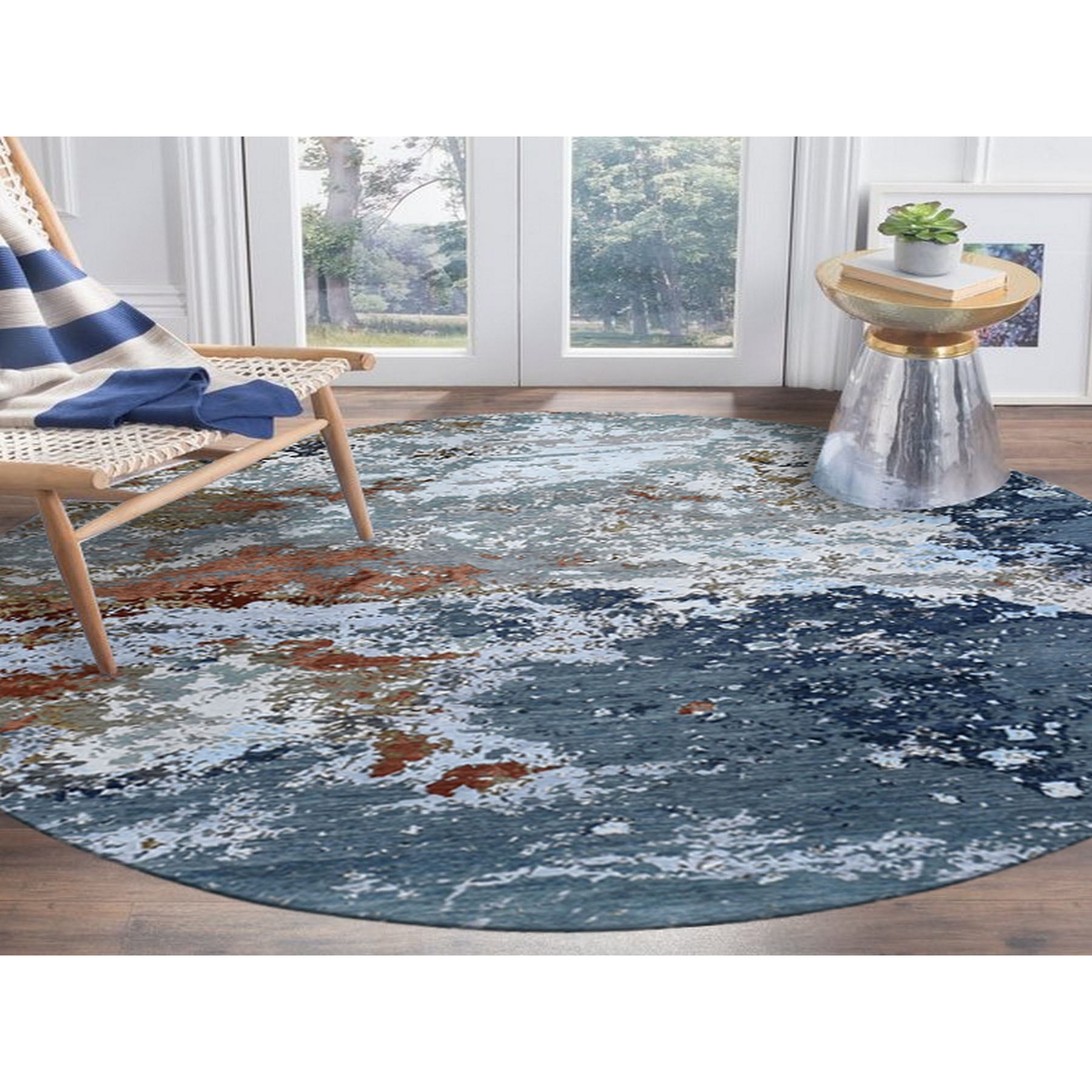 8'x8' Gray Abstract Design Wool And Silk Hi-Low Pile Denser Weave Hand Knotted Oriental Rug