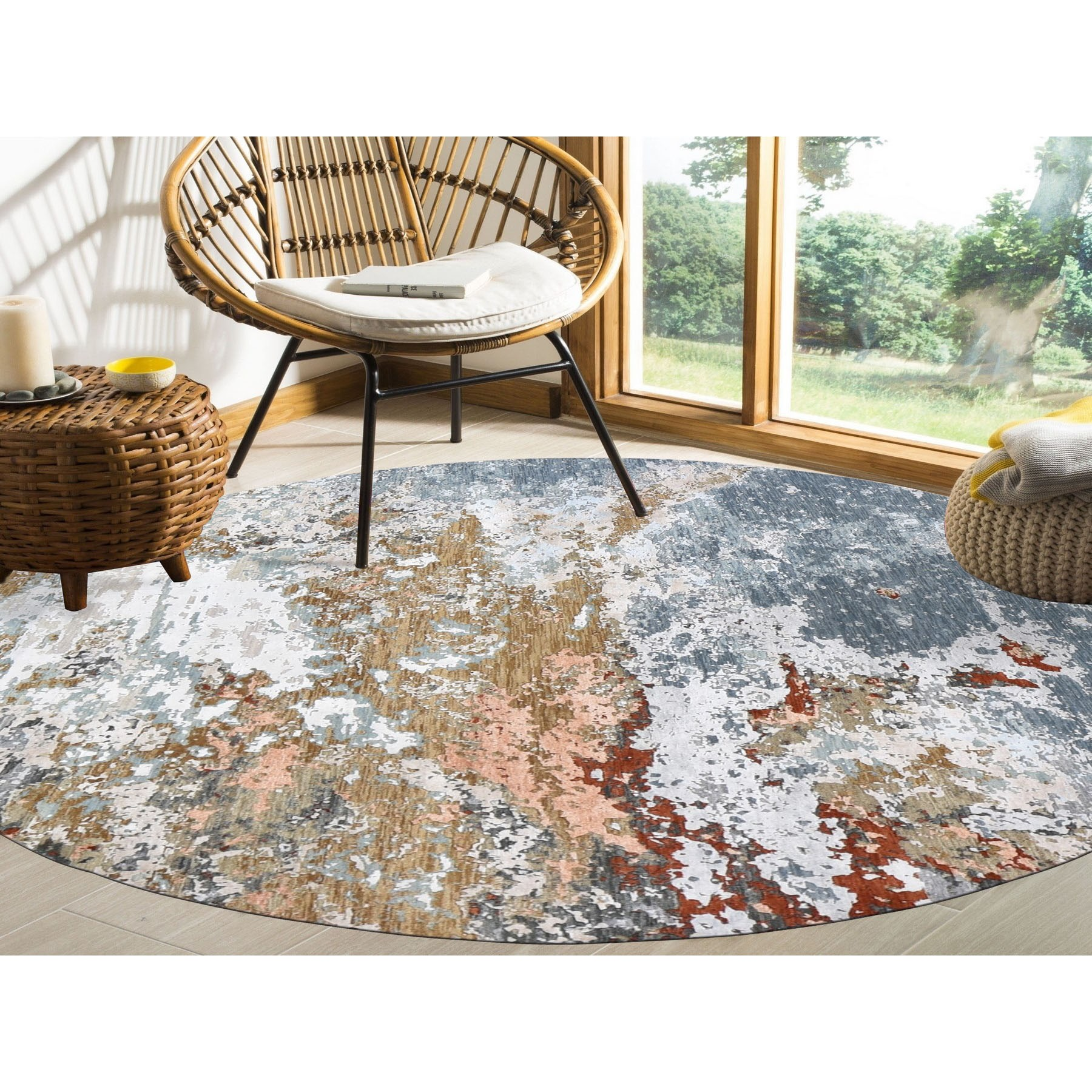 """7'9""""x7'9"""" Gray Abstract Design Wool And Silk Hi-Low Pile Denser Weave Hand Knotted Oriental Rug"""