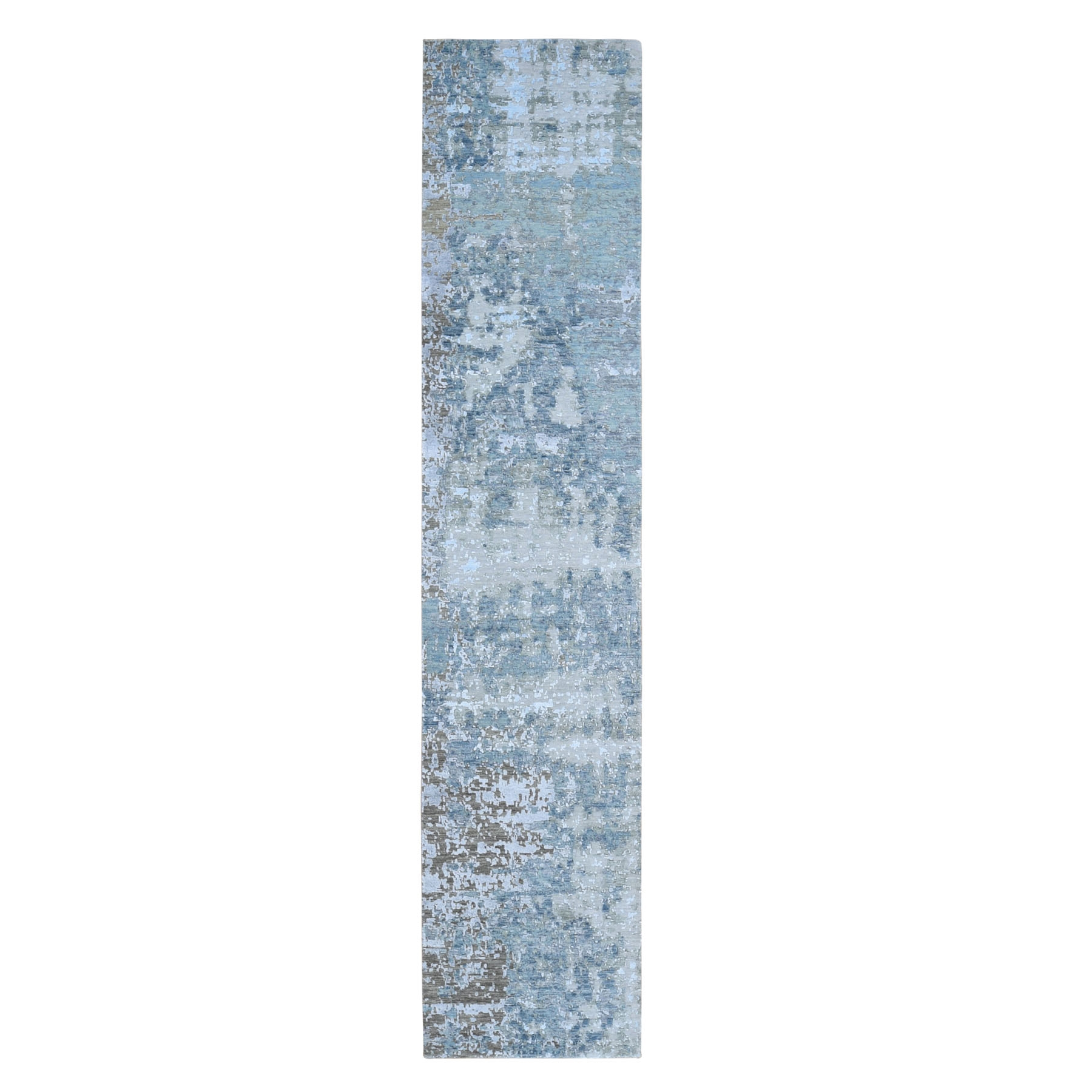 "2'6""X12'1"" Abstract Design Wool And Silk Hi-Low Pile Denser Weave Runner Hand Knotted Oriental Rug moae907e"