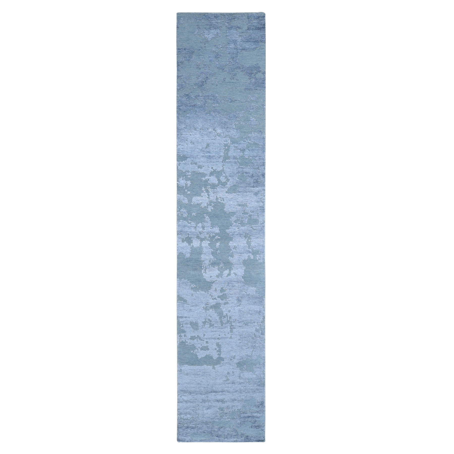 "2'6""X12'6"" Abstract Design Wool And Silk Hi-Low Pile Denser Weave Runner Hand Knotted Oriental Rug moae9076"