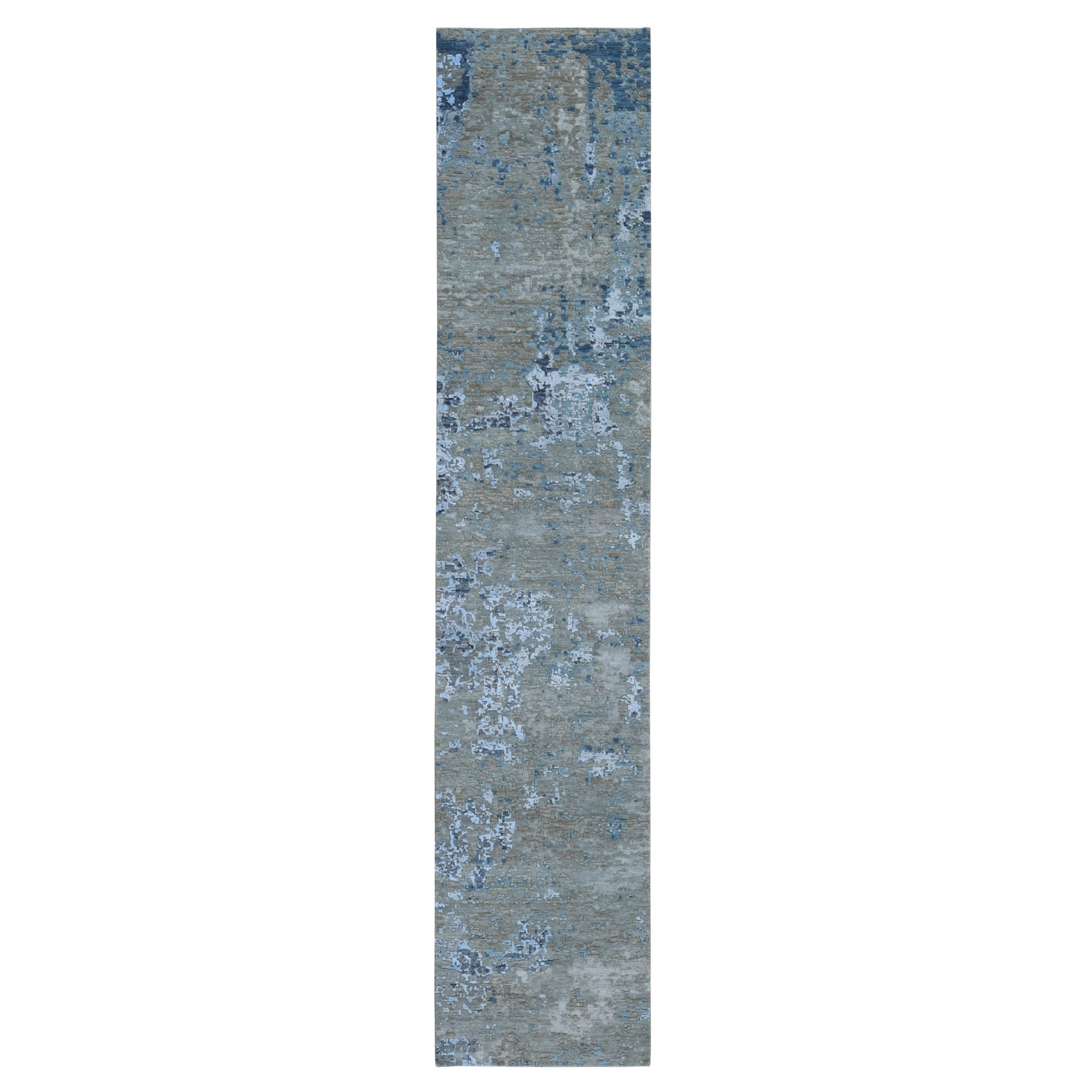 "2'6""X12'1"" Abstract Design Wool And Silk Hi-Low Pile Denser Weave Runner Hand Knotted Oriental Rug moae9077"