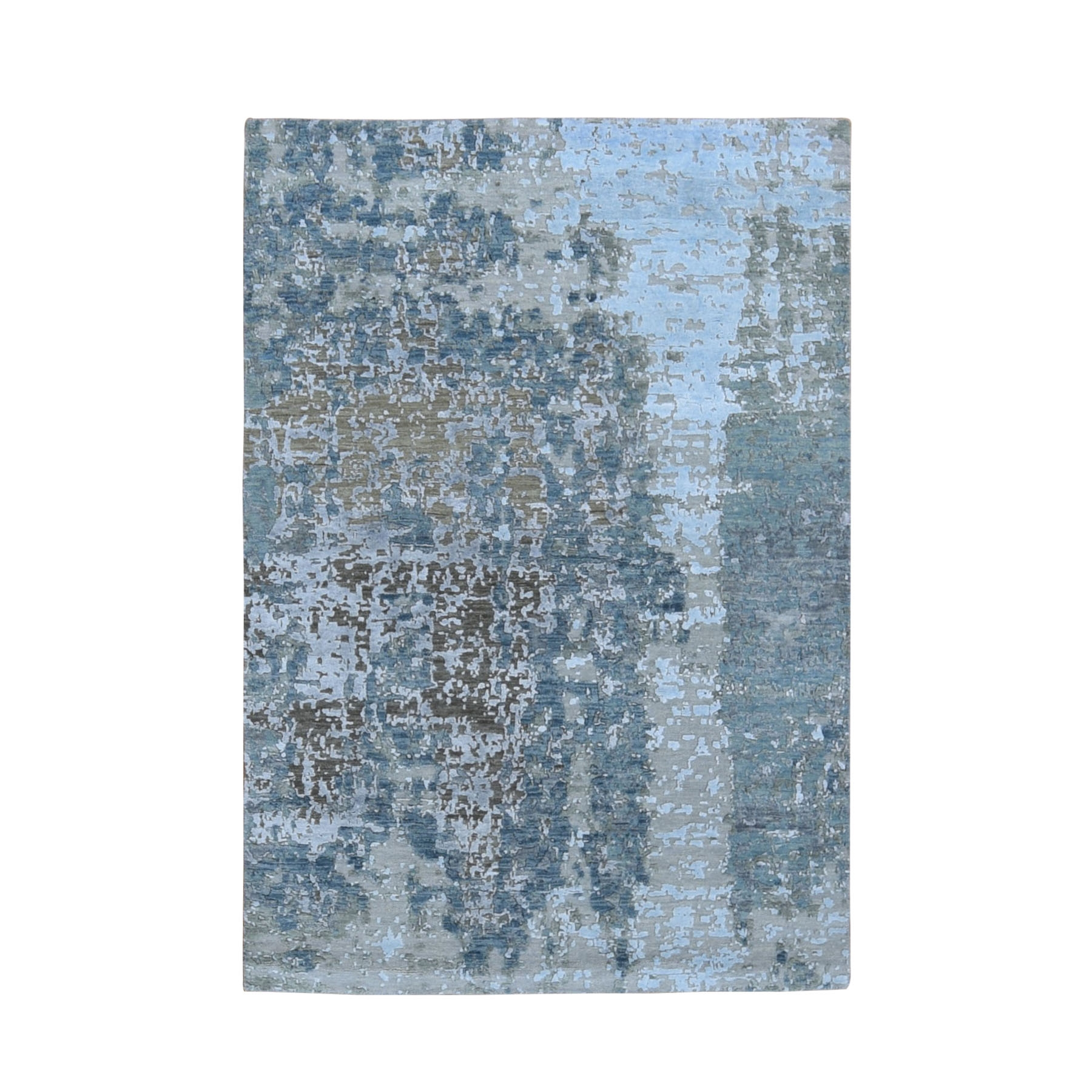 "4'3""X6'3"" Abstract Design Wool And Silk Hi-Low Pile Denser Weave Hand Knotted Oriental Rug moae9079"