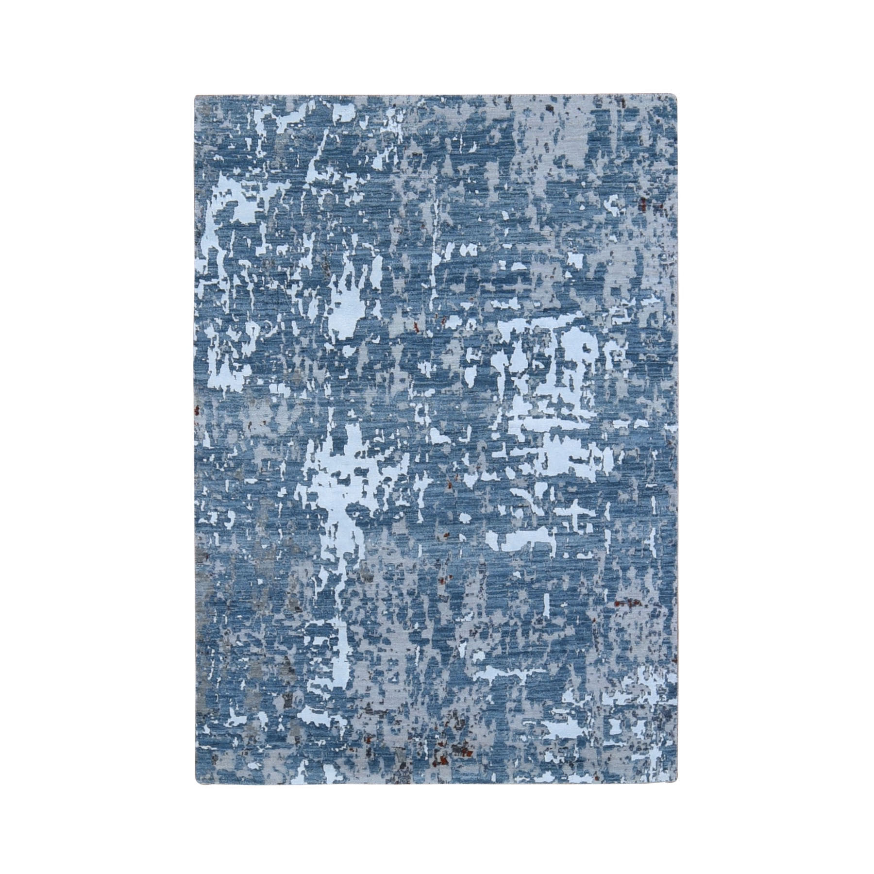 4'X6' Gray Abstract Design Wool And Silk Hi-Low Pile Denser Weave Hand Knotted Oriental Rug moae908b