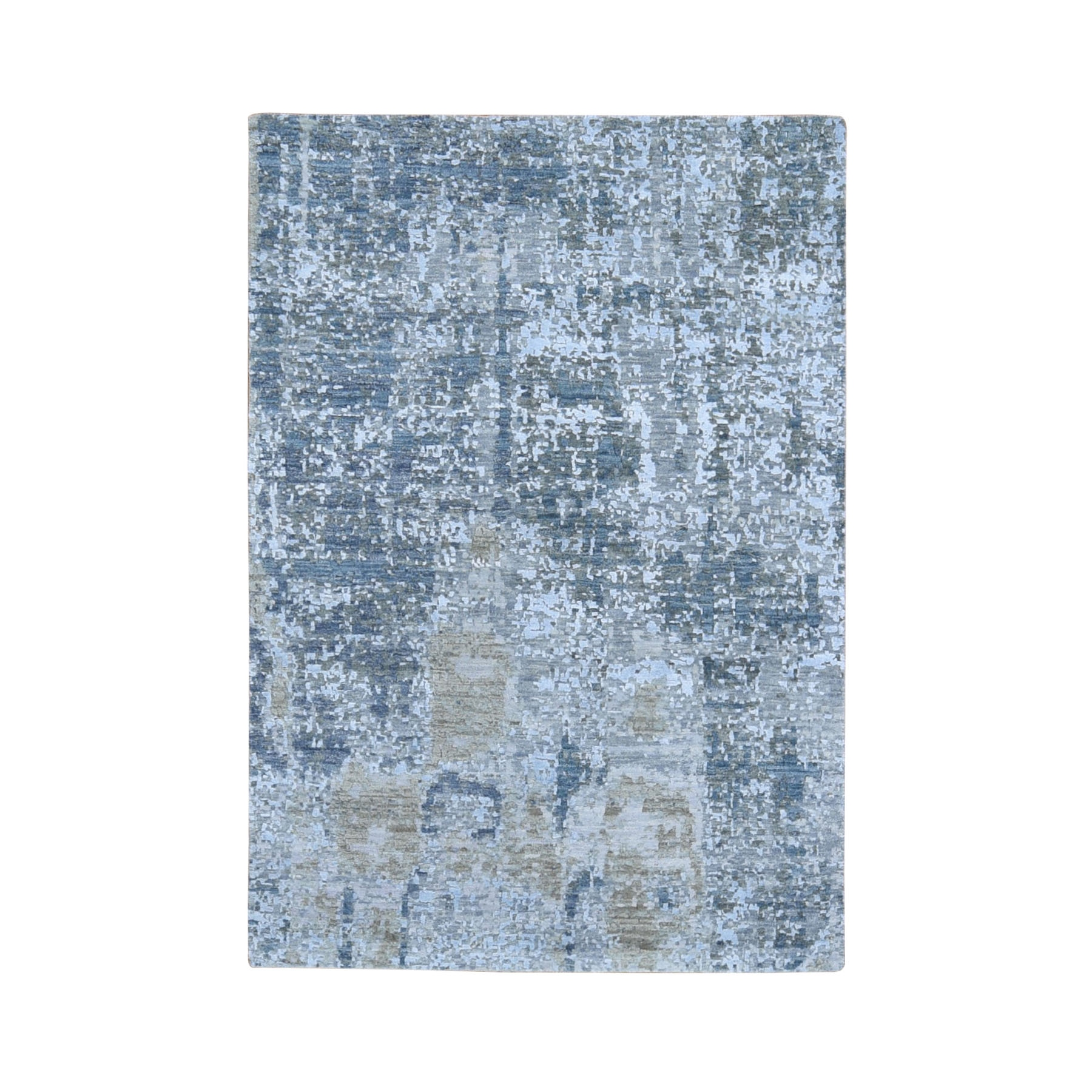 "4'X6'1"" Gray Abstract Design Wool And Silk Hi-Low Pile Denser Weave Hand Knotted Oriental Rug moae908d"