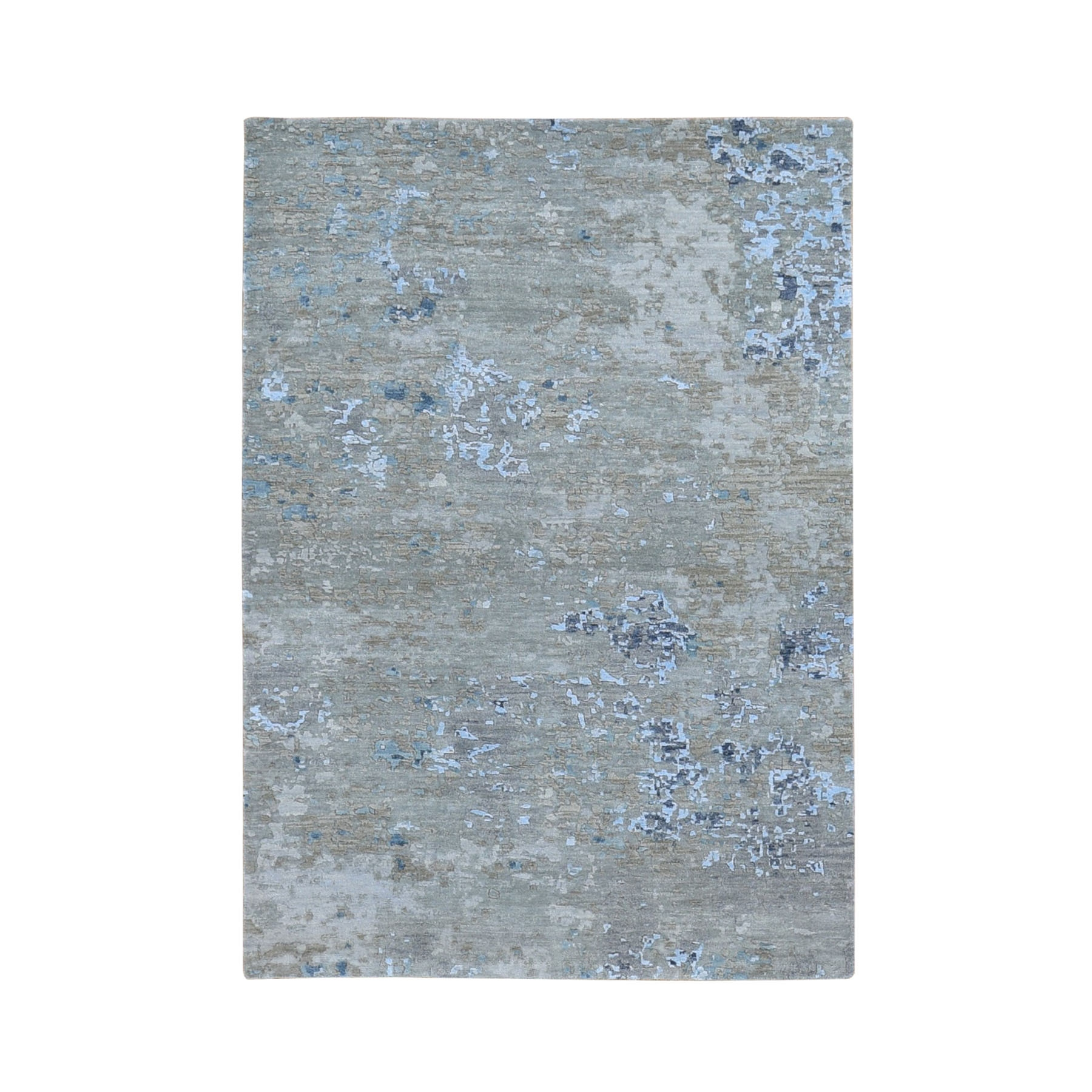 4'X6' Abstract Design Wool And Silk Denser Weave Hand Knotted Modern Rug moae9087