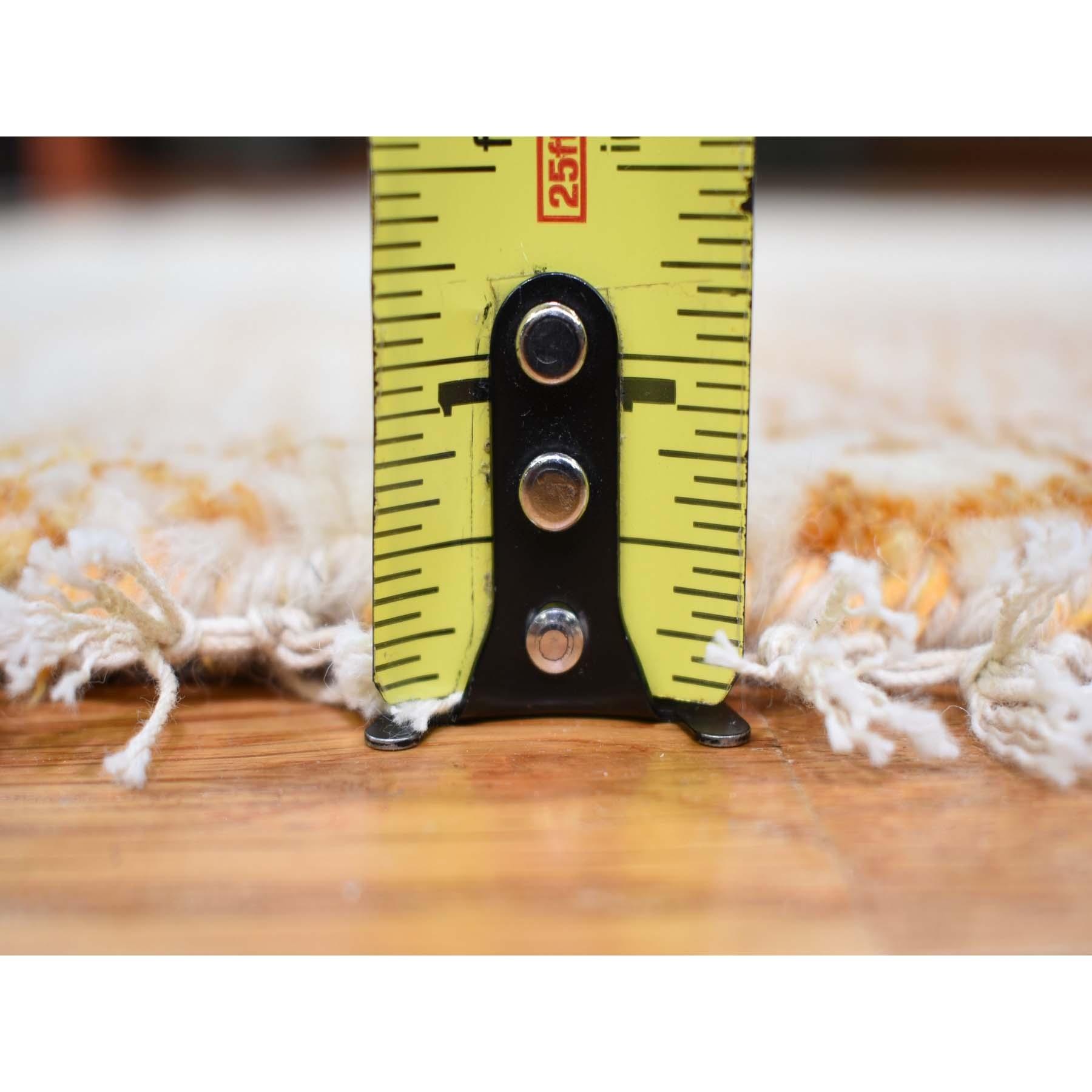 4'x4' Burnt Orange Grass Design Gabbeh Wool And Silk Round Hand Knotted Oriental Rug