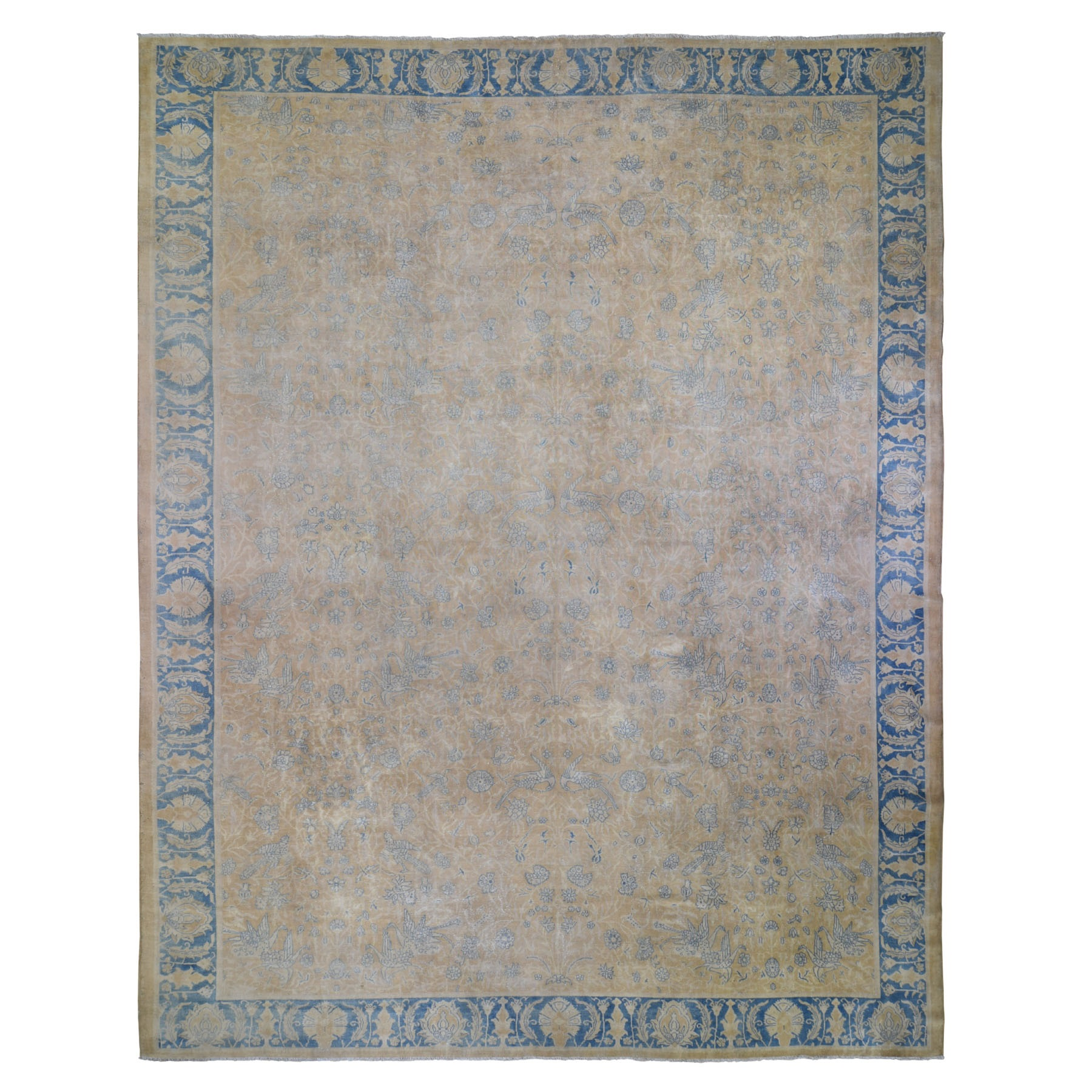 """12'9""""X17'3"""" Oversized Beige Antique Turkish Sivas With Parrots And Swans Hand Knotted Oriental Rug moae9097"""