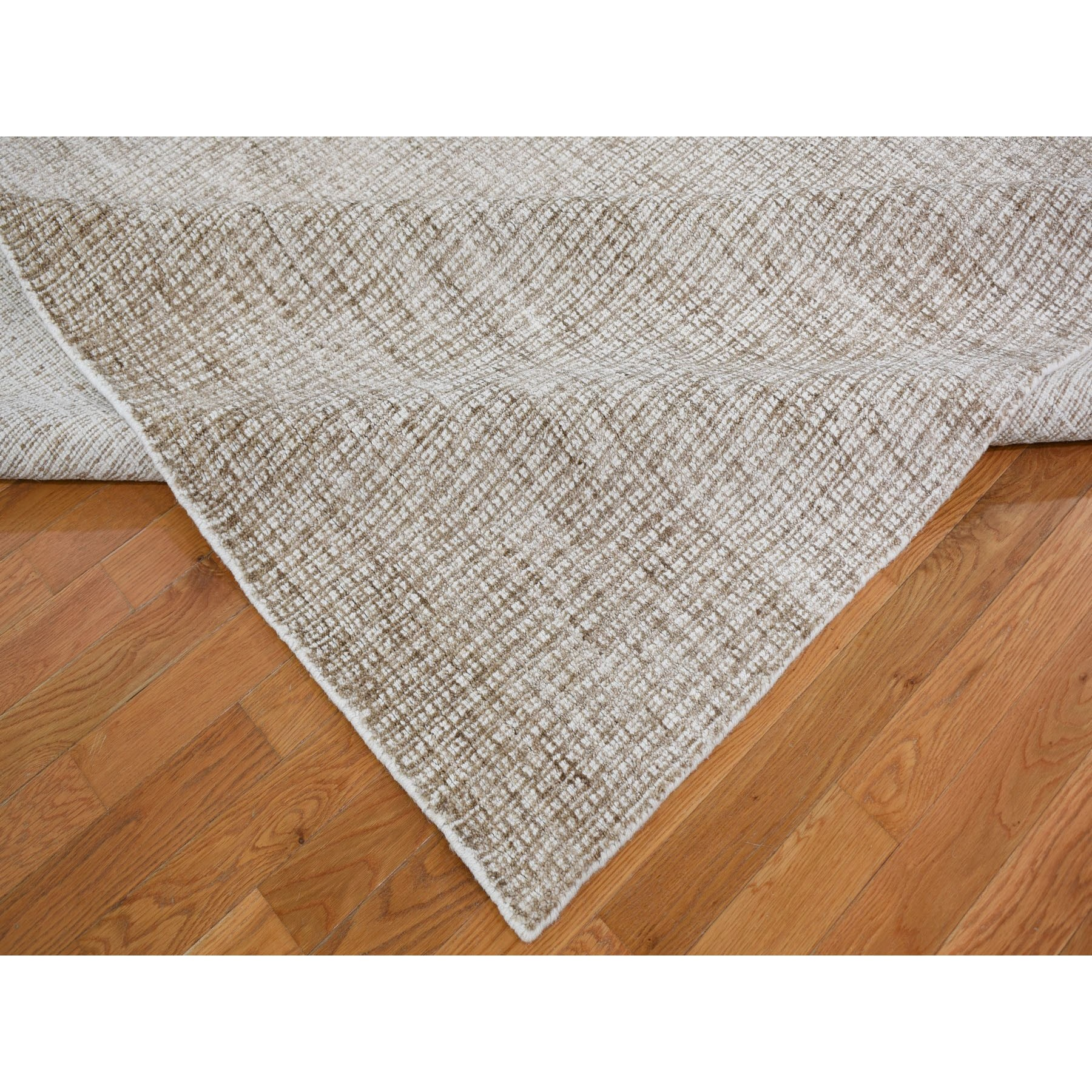 "9'2""x12'1"" Brown Wool And Silk Modern Hand Loomed Oriental Rug"