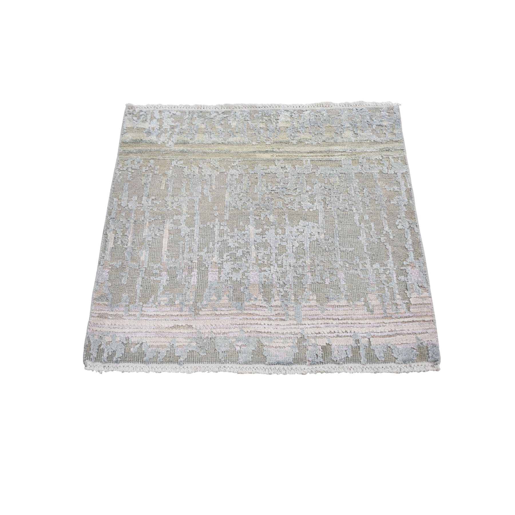 2'X2' Sampler Pure Silk With Textured Wool Hand Knotted Oriental Rug moae9abc