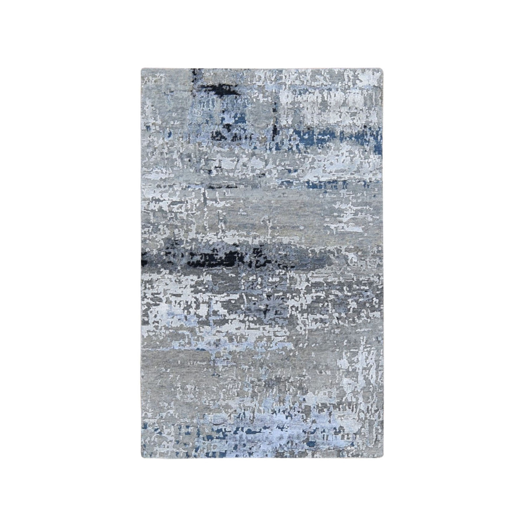 """2'9""""X4'10"""" Gray Abstract Design Wool And Silk Hand Knotted Oriental Rug moae9ab9"""