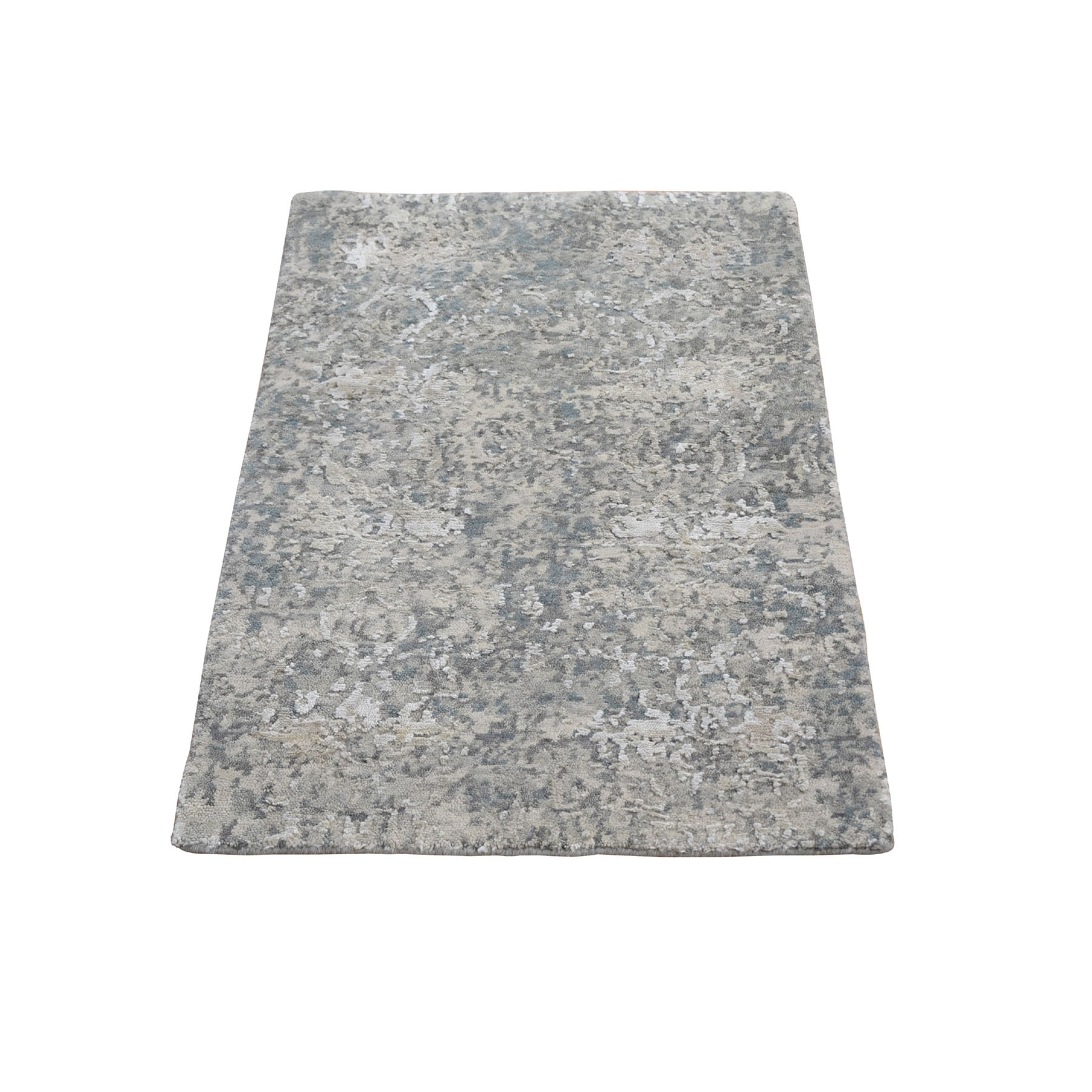 2'X3' Gray Wool And Silk Abstract Design Hand Knotted Oriental Rug moae9acd