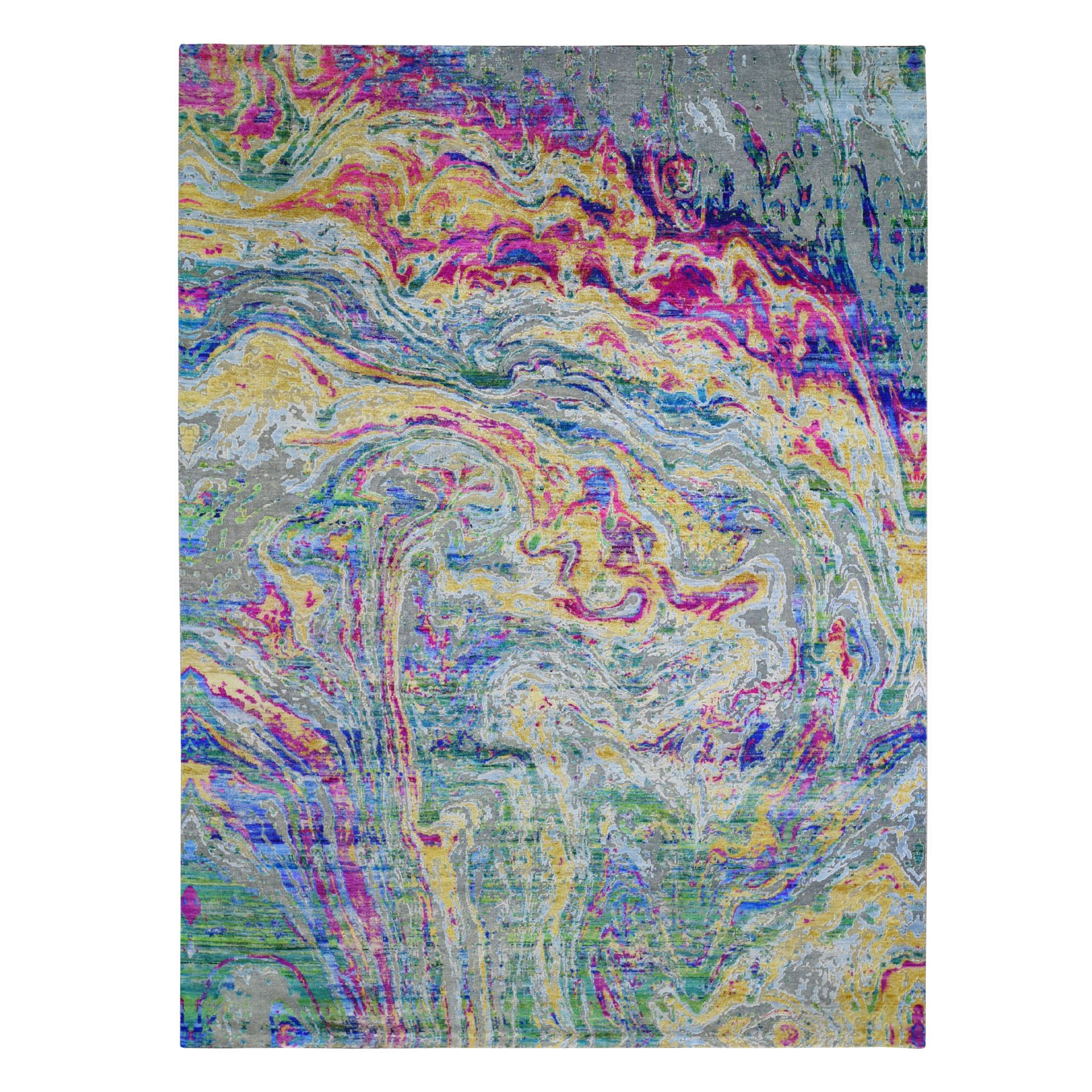 "8'7""x11'6"" THE LAVA, Colorful Sari Silk With Textured Wool Hand Knotted Oriental Rug"
