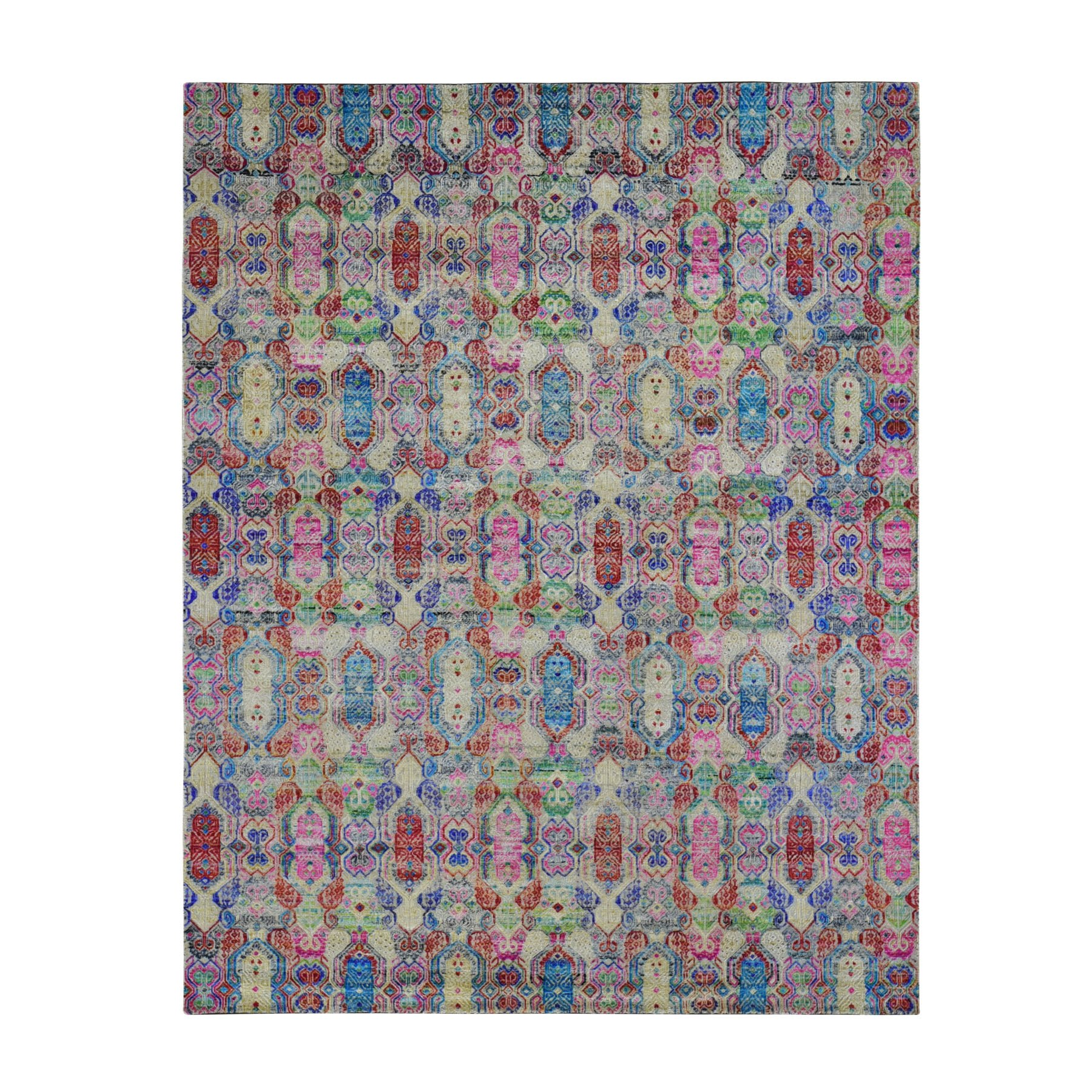 """8'X9'9"""" Colorful Jewellery Design Sari Silk With Textured Wool Hand Knotted Oriental Rug moae9ad6"""