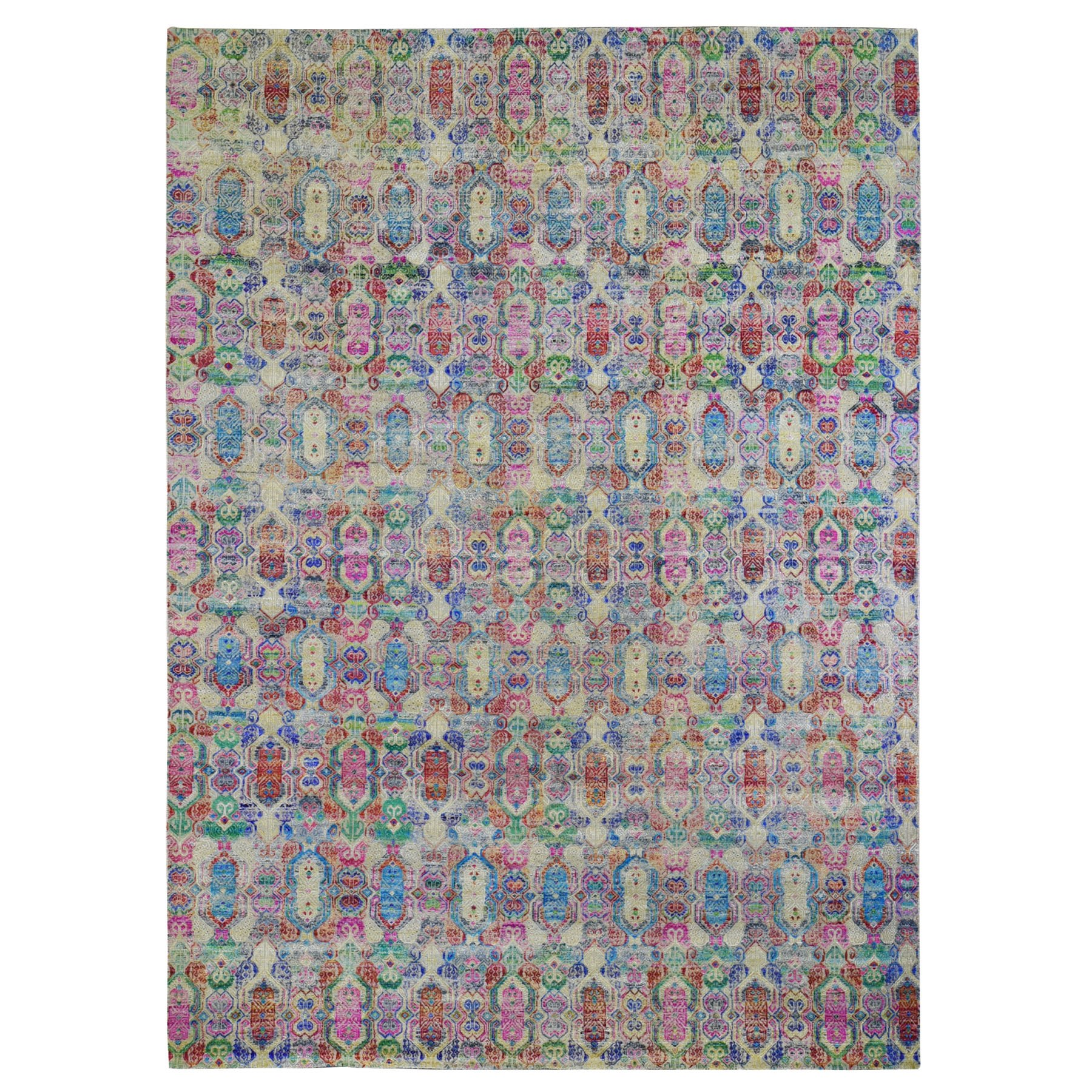 "9'8""x14' Colorful Jewellery Design Sari Silk With Textured Wool Hand Knotted Oriental Rug"