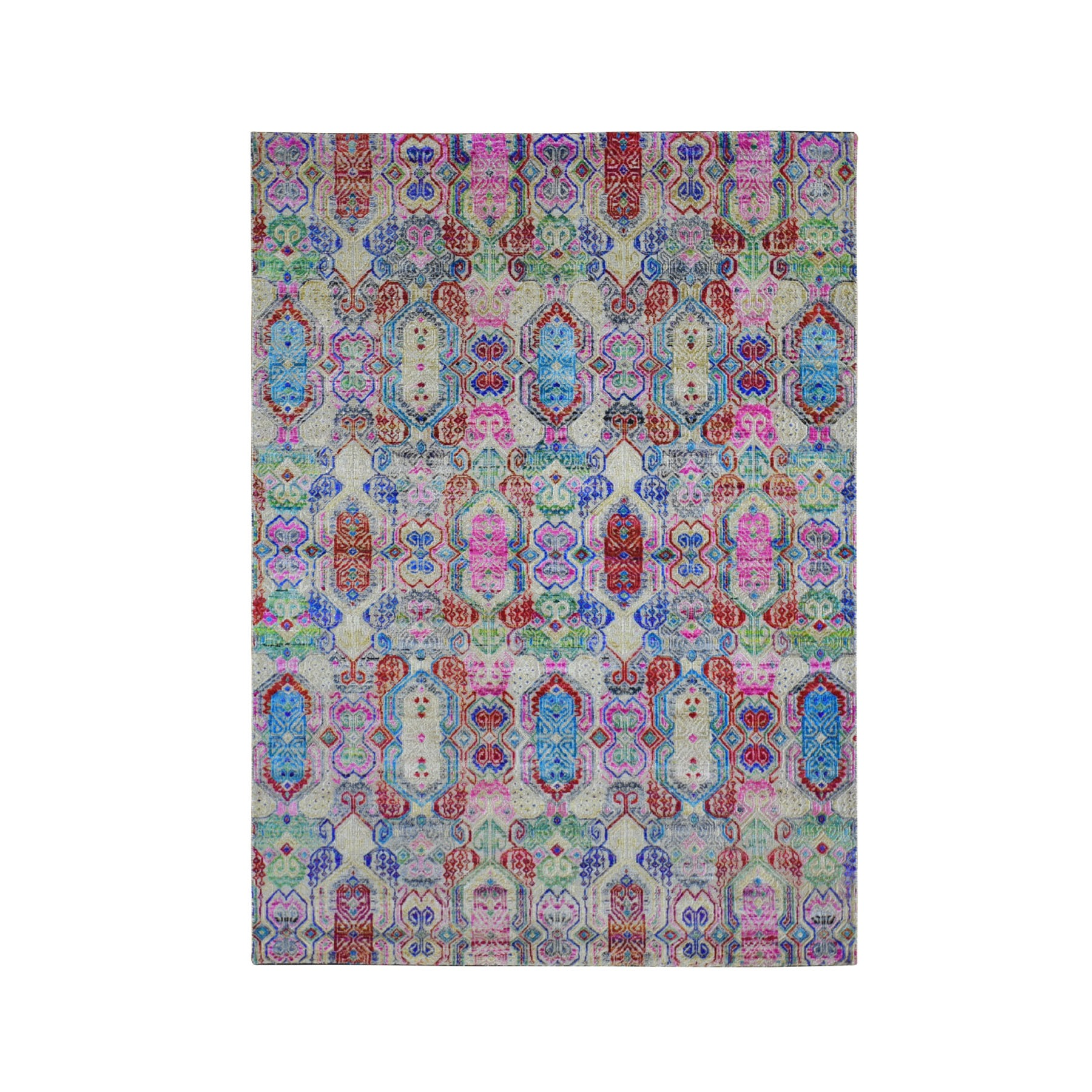 "5'x6'10"" Colorful Jewellery Design Sari Silk With Textured Wool Hand Knotted Oriental Rug"