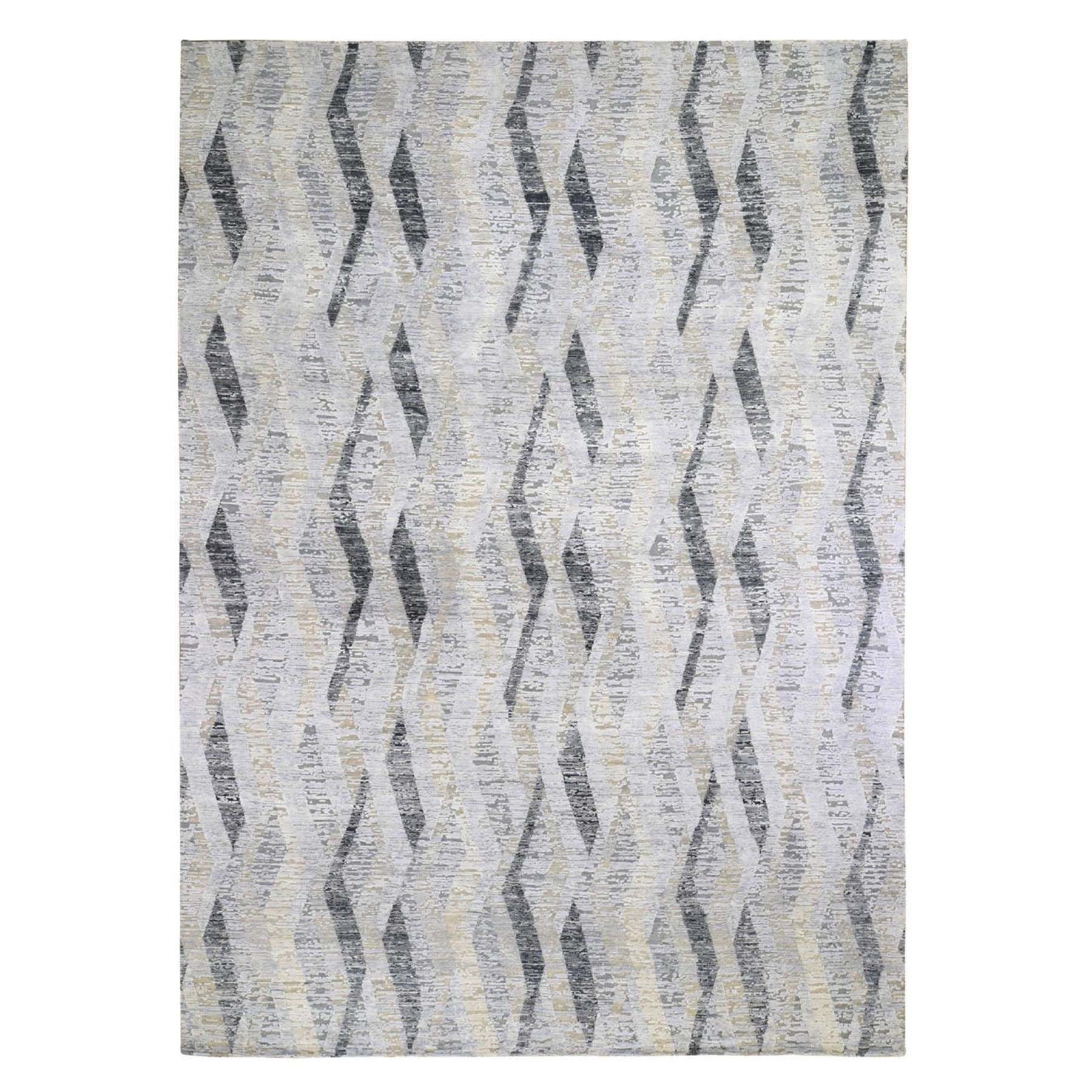 10'X14' Dimensional Curtains Gray Silk With Textured Wool Hand Knotted Oriental Rug moae9aec