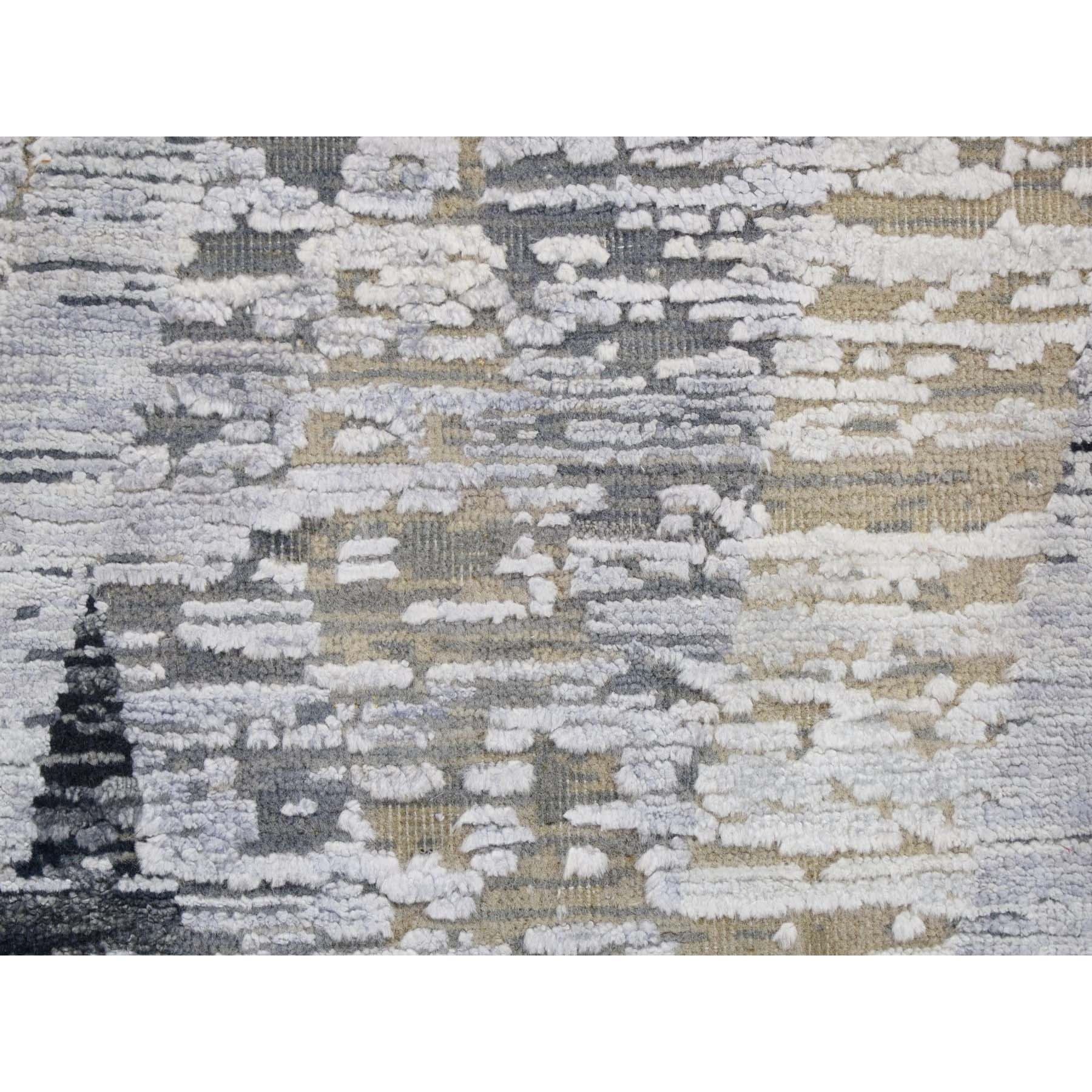 10'x14' DIMENSIONAL CURTAINS Gray Silk With Textured Wool Hand Knotted Oriental Rug