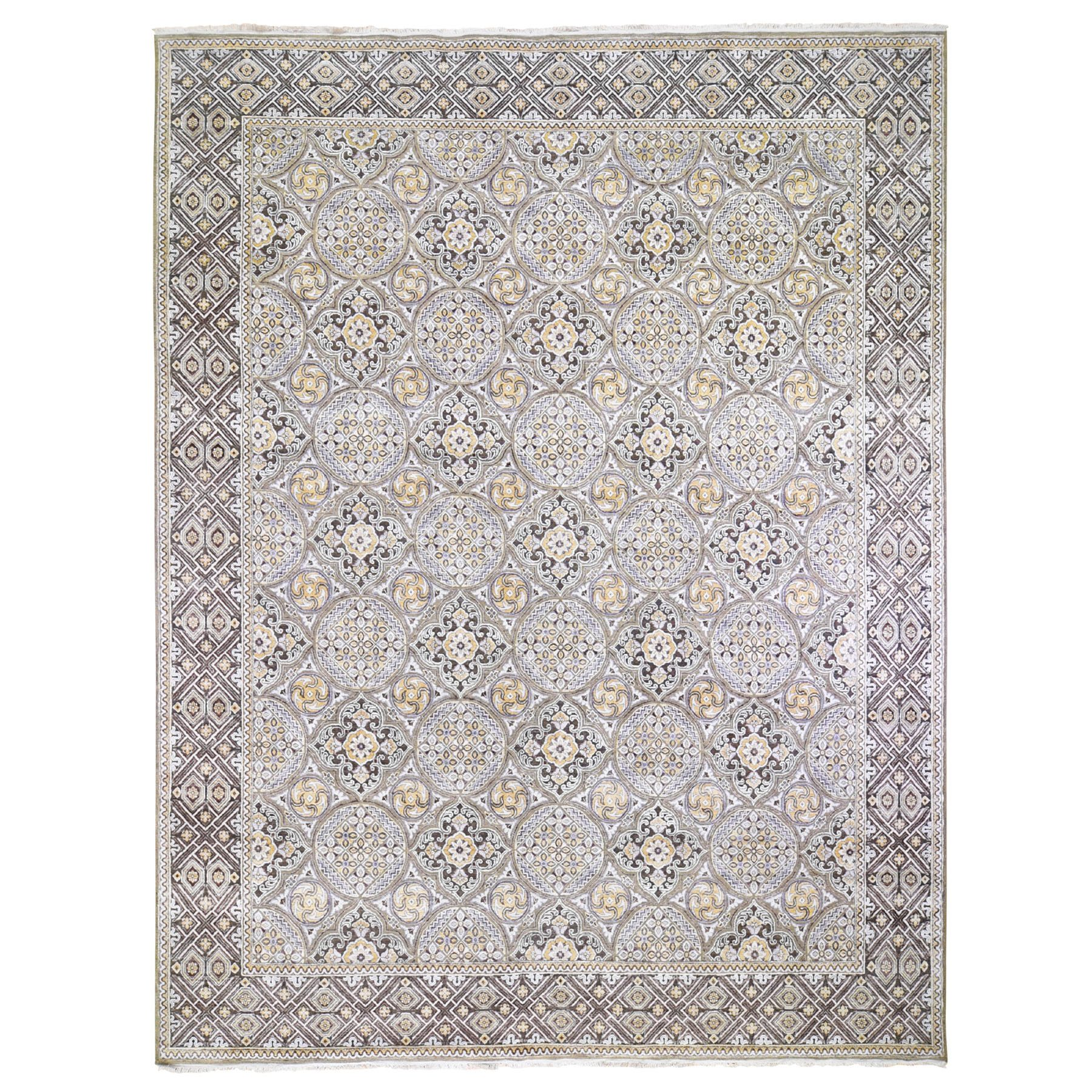 """12'X15'5"""" Oversized Silk With Textured Wool Mughal Inspired Medallions Hand Knotted Oriental Rug moae9aed"""