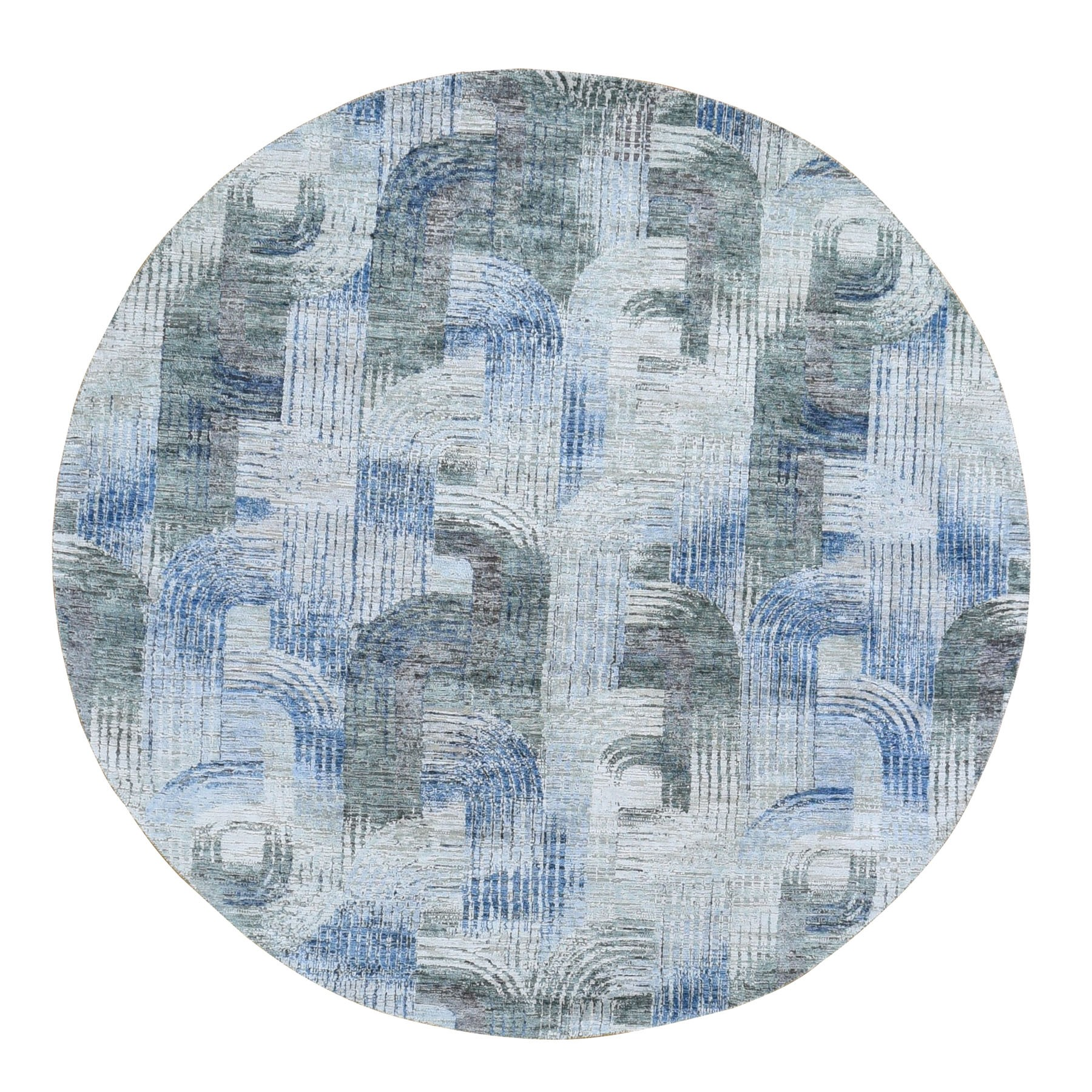 8'X8' The Intertwined Passage,Round Silk With Textured Wool Hand Knotted Oriental Rug moae9ae6