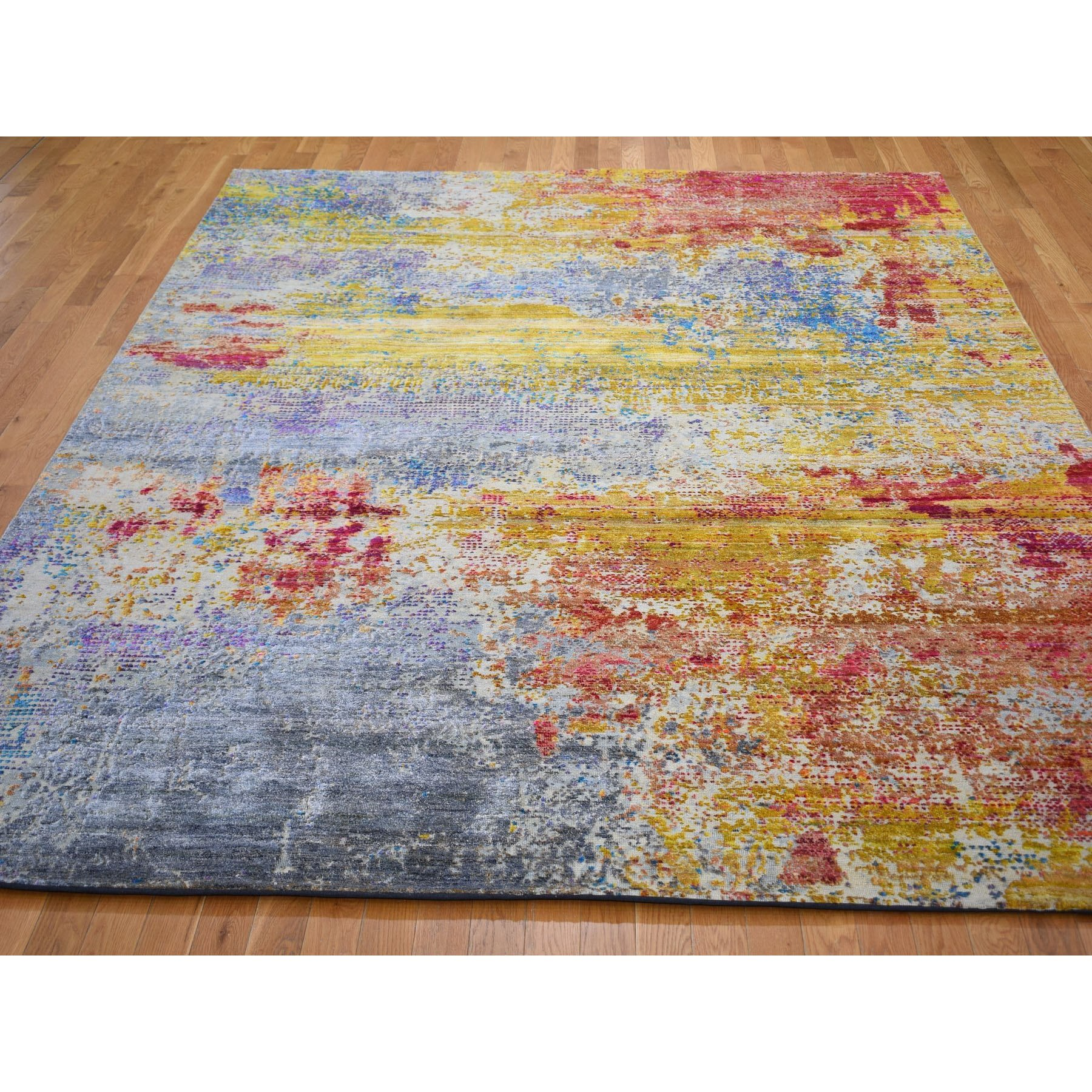 8'x10'  Yellow Silk With Textured Wool Abstract Design Hand Knotted Oriental Rug
