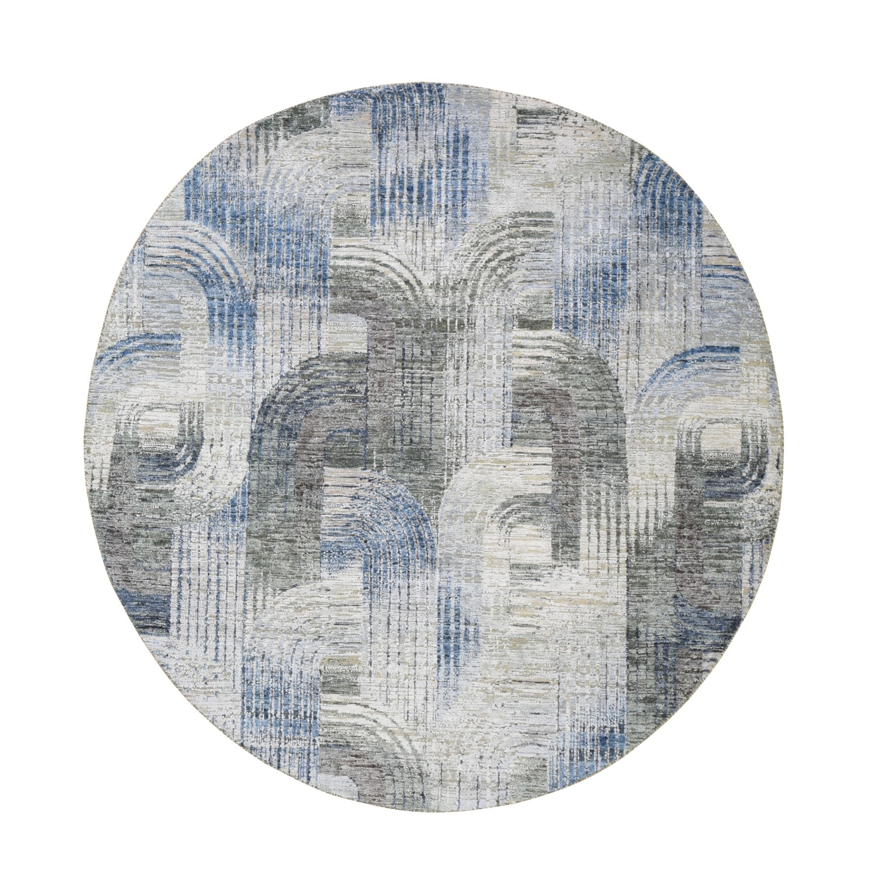 6'X6' The Intertwined Passage,Round Silk With Textured Wool Hand Knotted Oriental Rug moae9a6a