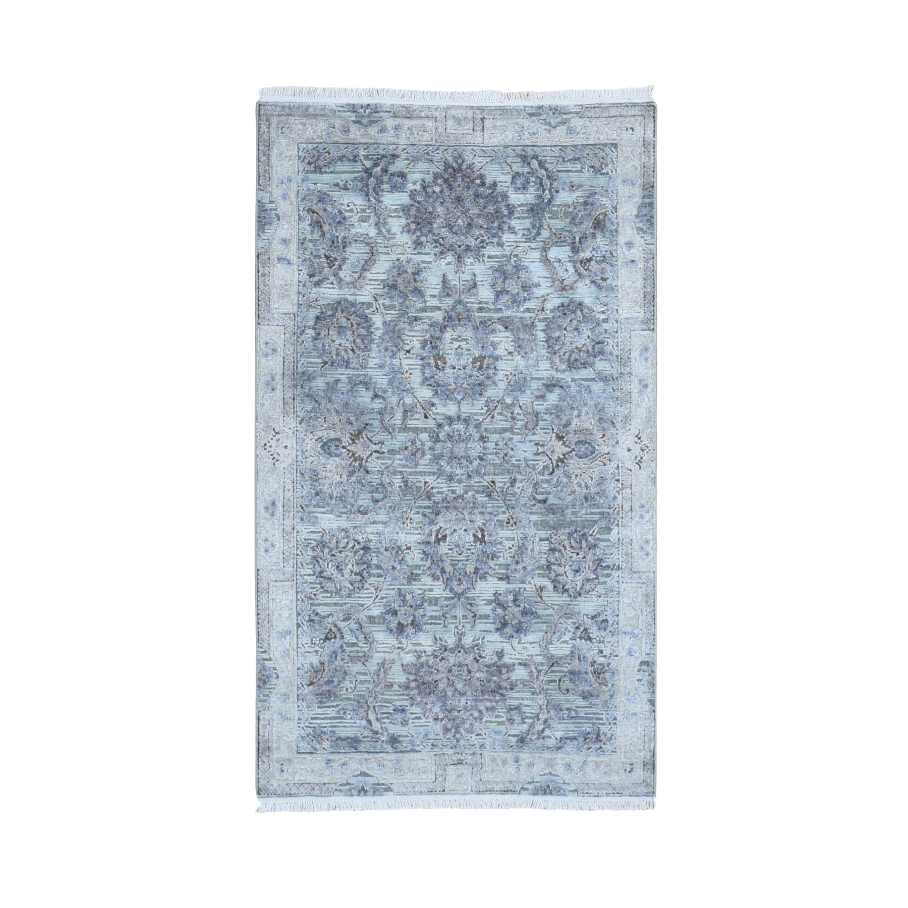 """3'X5'2"""" Silk With Textured Wool Mughal Design Hand Knotted Oriental Rug moae9a6c"""