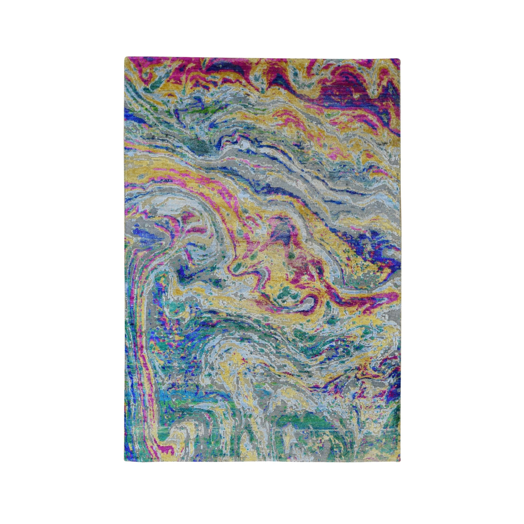 "3'9""x6' THE LAVA, Colorful Sari Silk With Textured Wool Hand Knotted Oriental Rug"