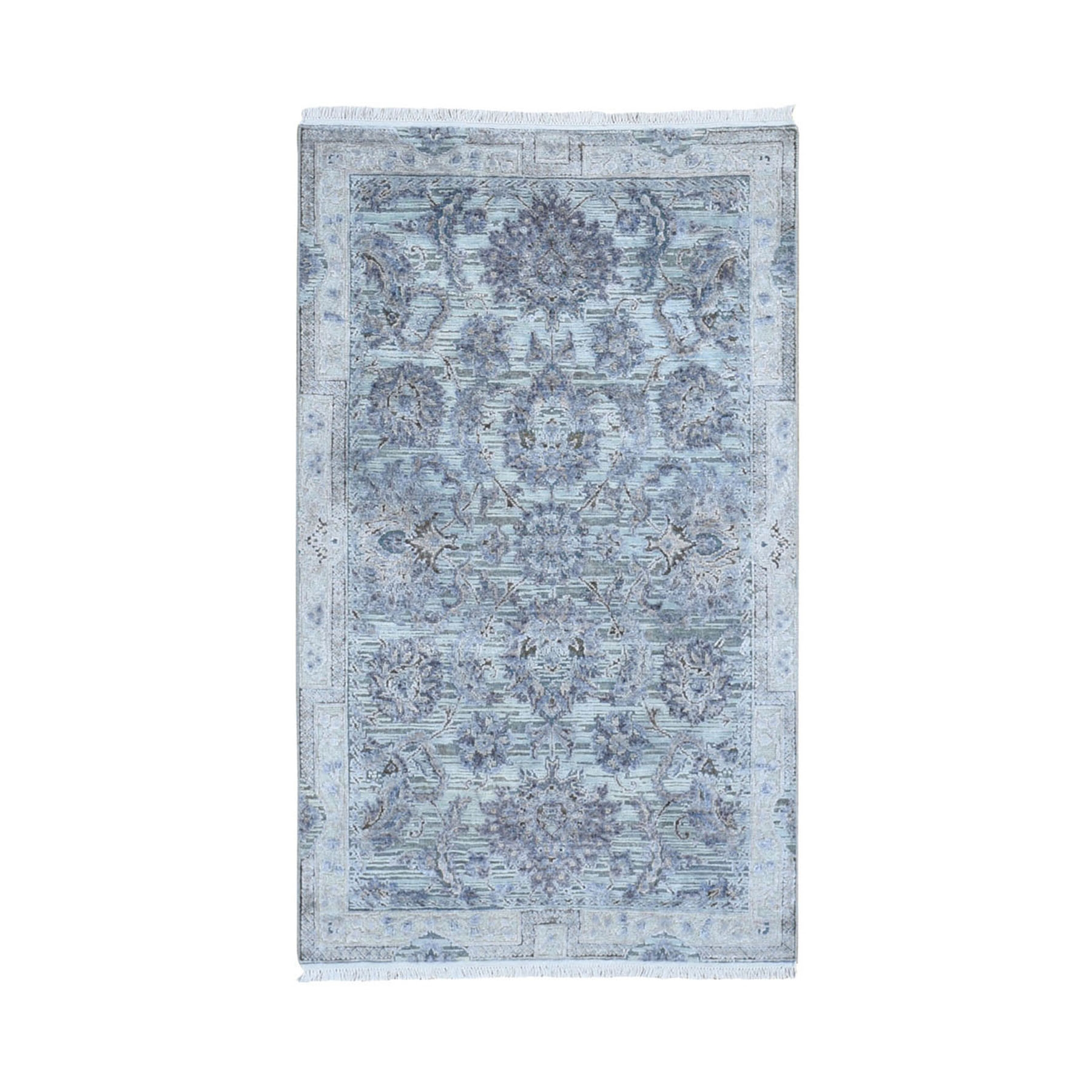 """3'X5'1"""" Silk With Textured Wool Mughal Design Hand Knotted Oriental Rug moae9a68"""