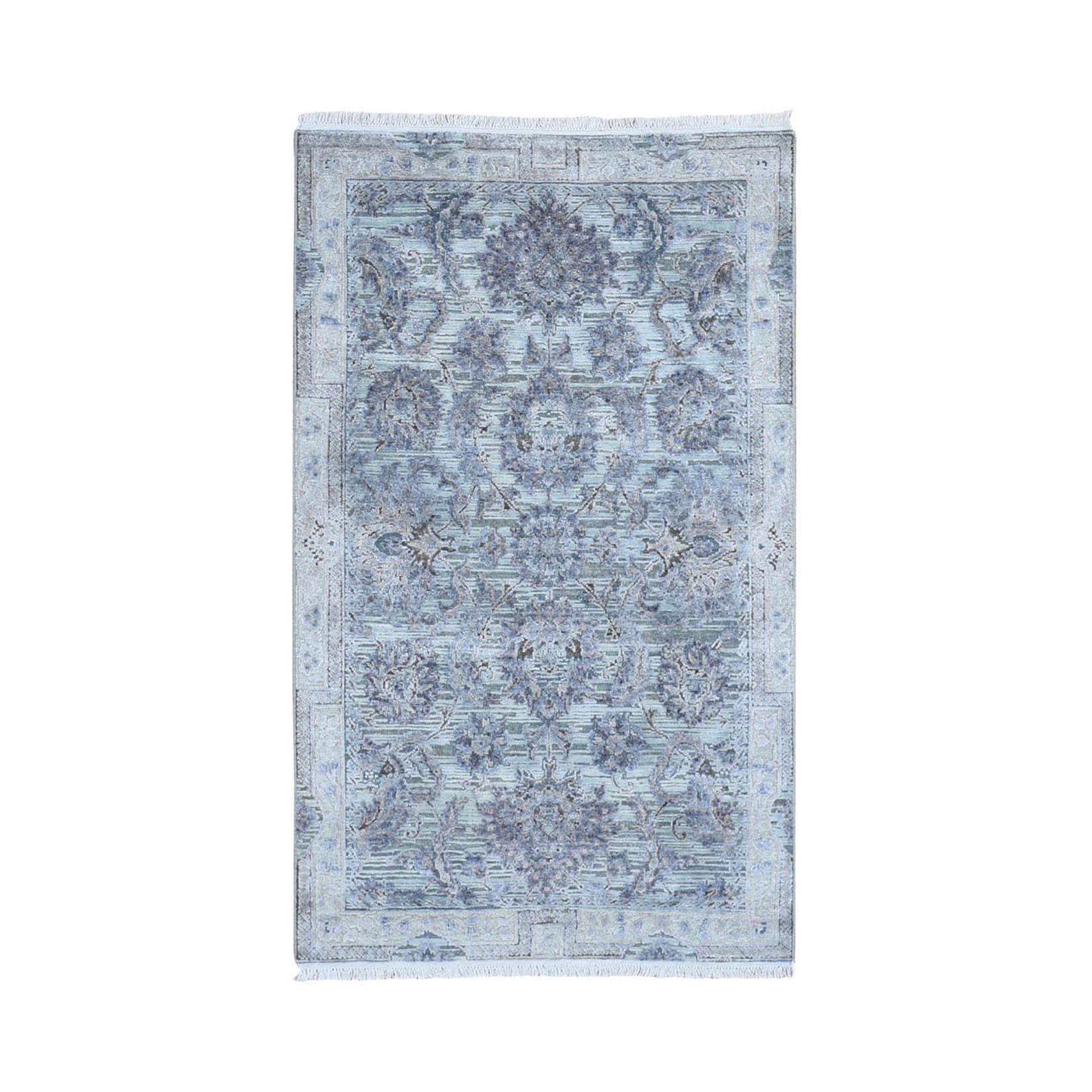 """3'1""""X5' Silk With Textured Wool Mughal Design Hand Knotted Oriental Rug moae9a69"""