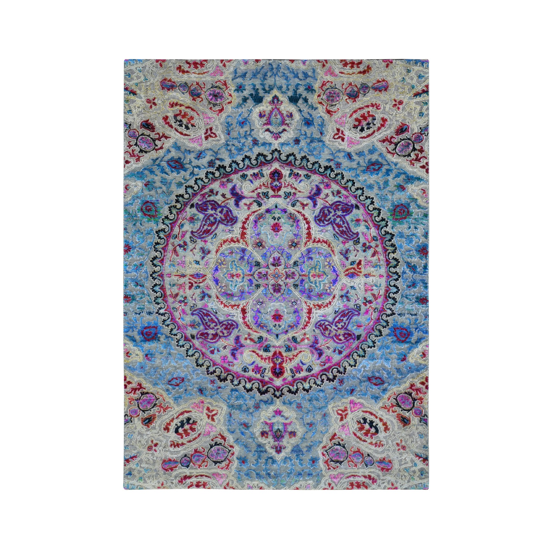 5'X7' Sari Silk And Textured Wool Colorful Maharaja Design Hand Knotted Oriental Rug moae9a7d