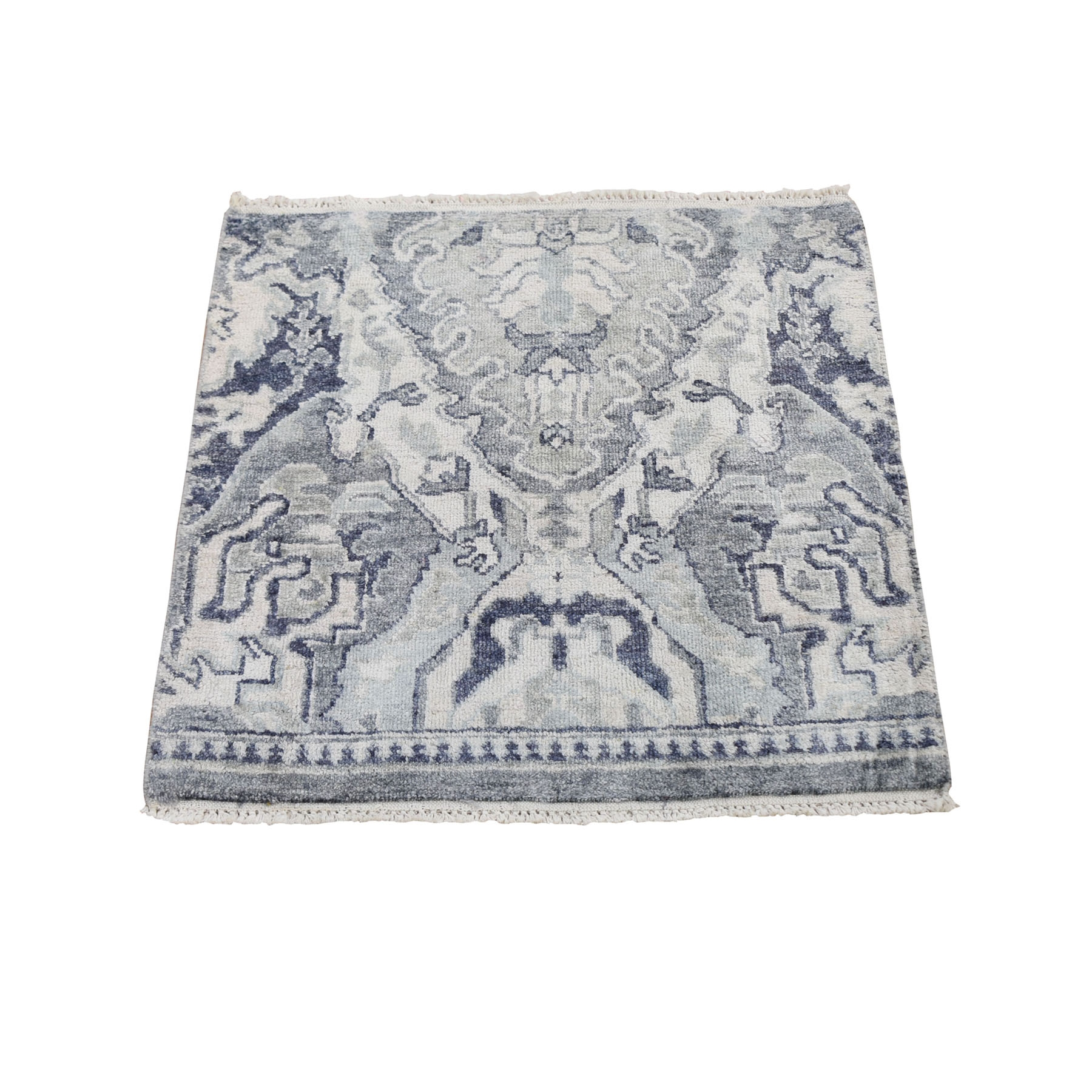 2'X2' Sampler Pure Silk With Textured Wool Hand Knotted Oriental Rug moae9a8d