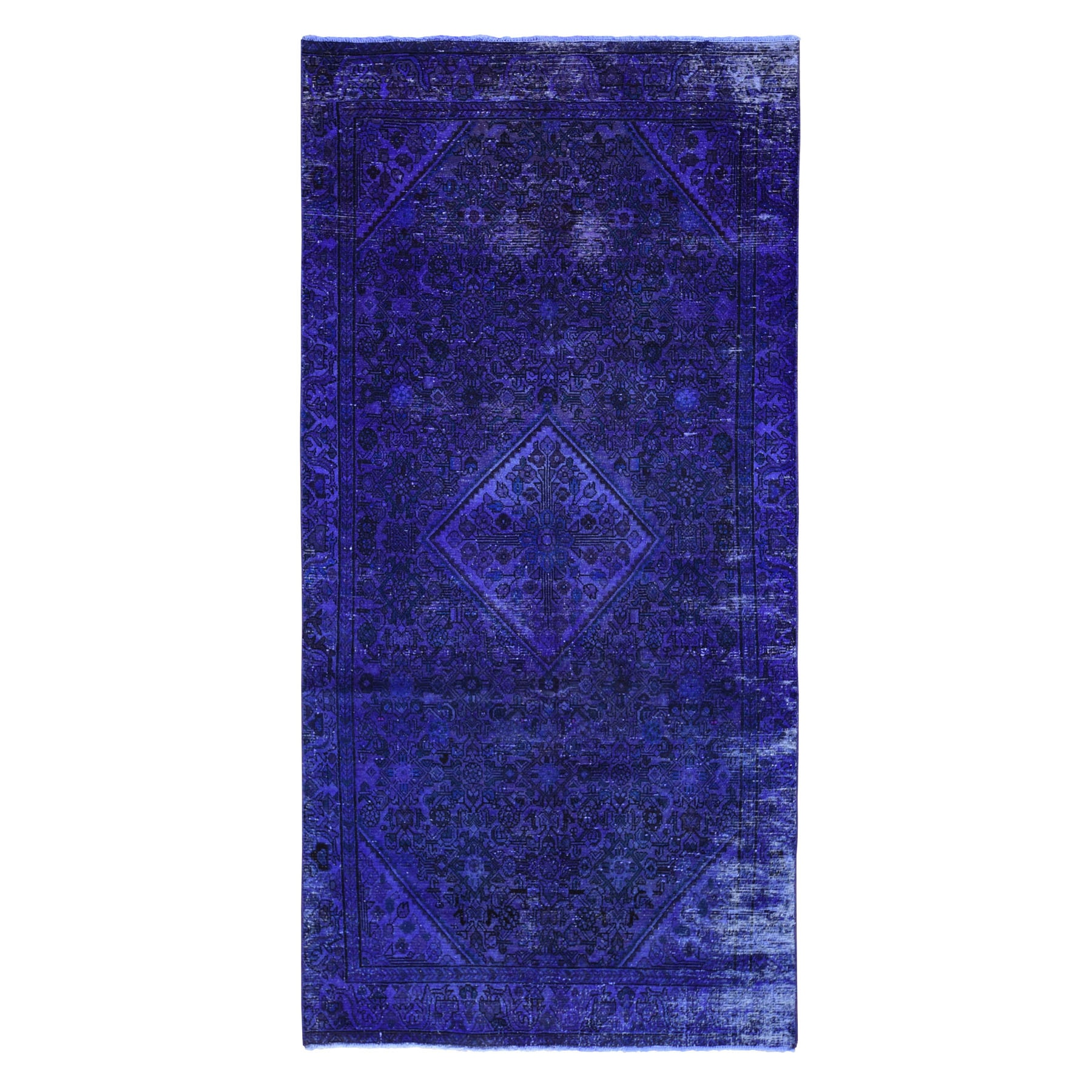 """4'10""""X10' Gallery Size Violet Overdyed Persian Hamadan Worn Wool Hand Knotted Oriental Rug moae9a96"""